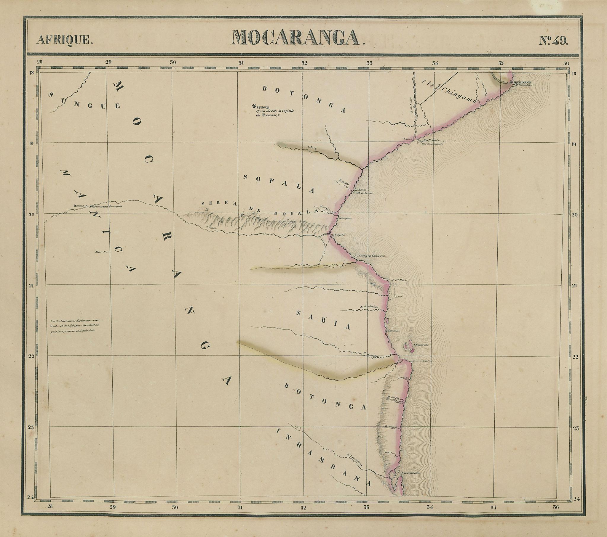 Afrique. Mocaranga #49 Southern Mozambique coast. Bazaruto VANDERMAELEN 1827 map
