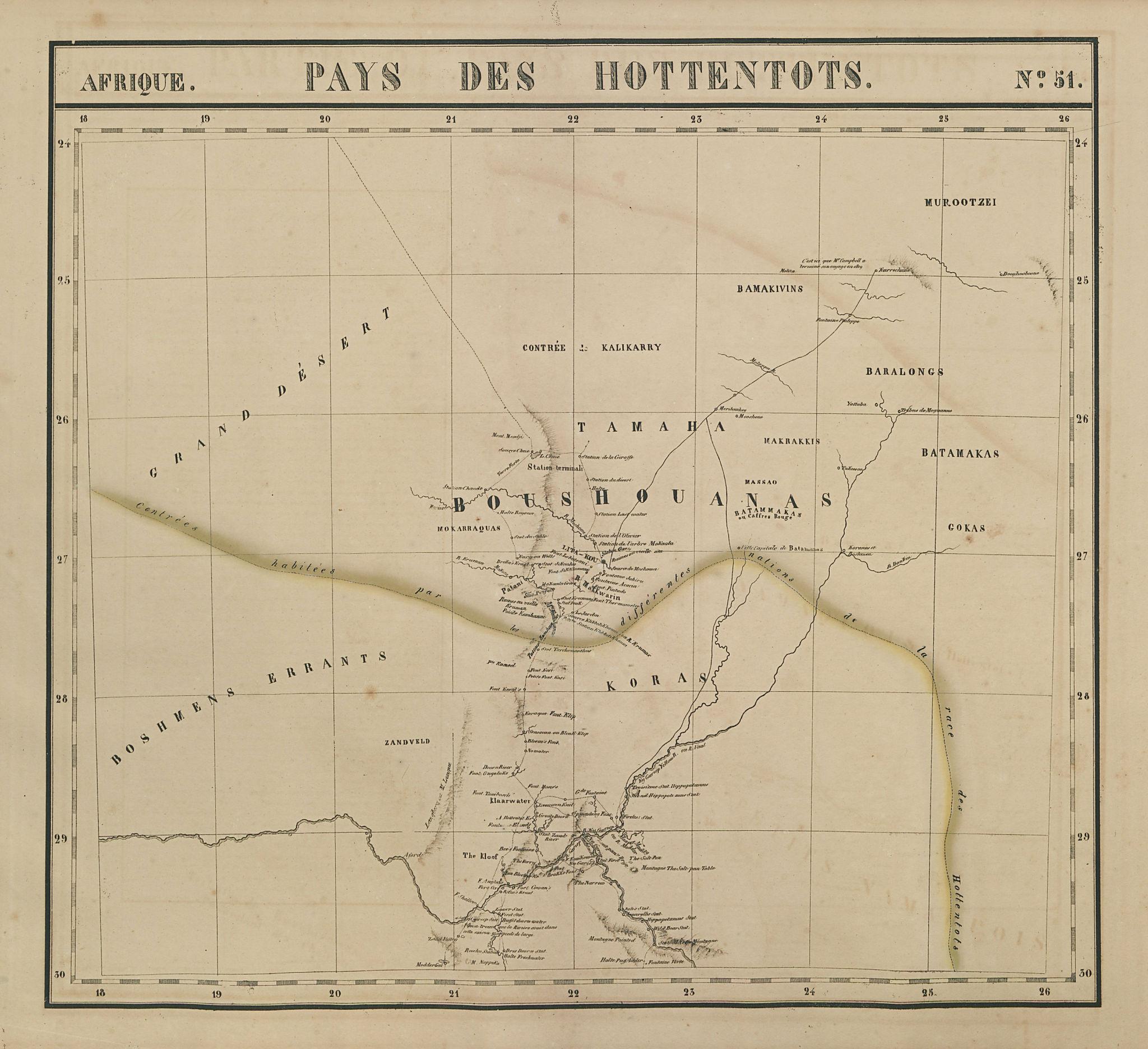 Afrique. Pays des Hottentots #51. Botswana South Africa. VANDERMAELEN 1827 map