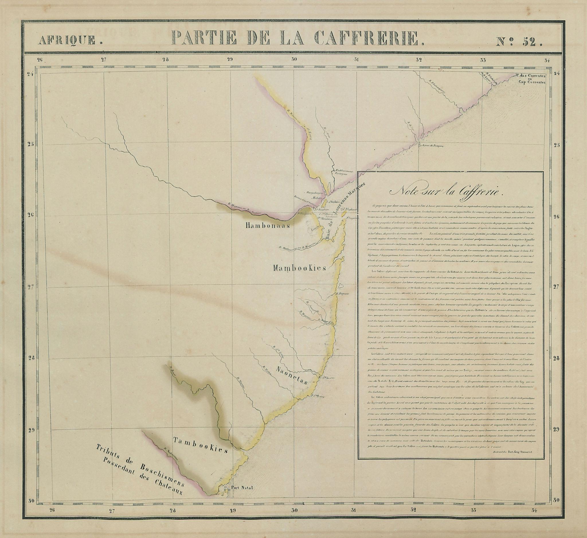 Afrique Partie de la Caffrerie 52 Kwazulu-Natal Mozambique VANDERMAELEN 1827 map