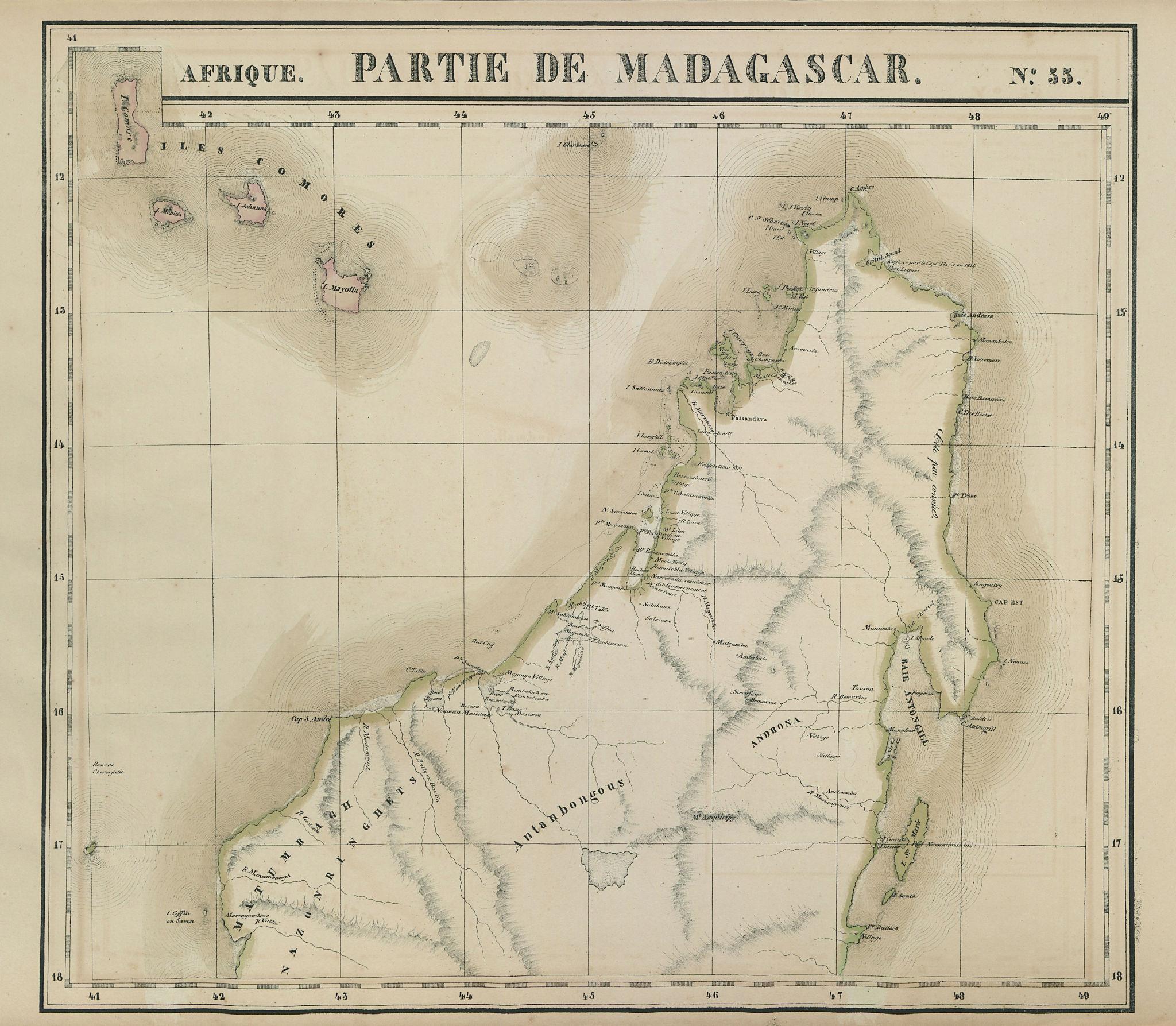 Afrique. Partie de Madagascar #55 North Madagascar Comoros VANDERMAELEN 1827 map