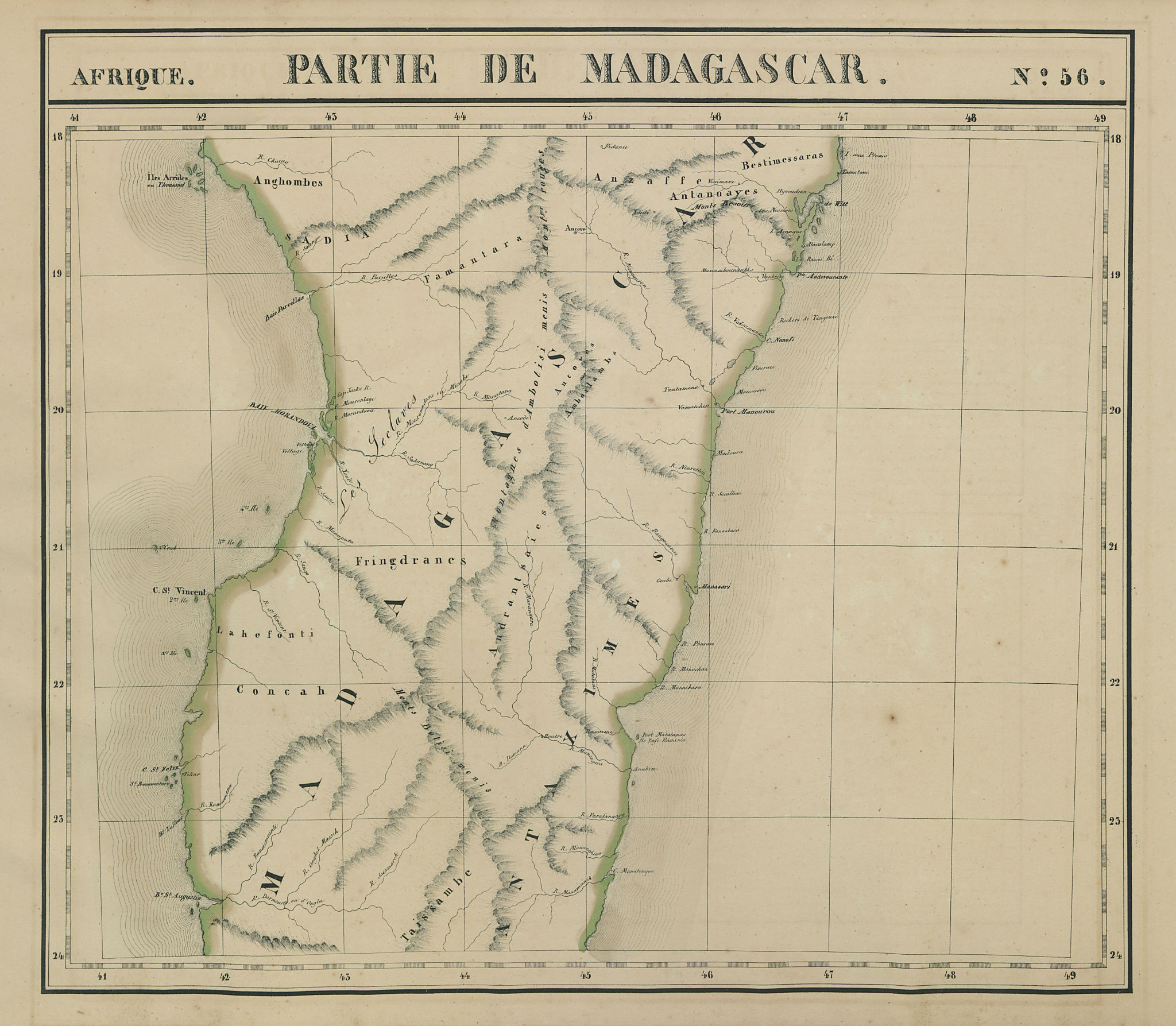 Afrique. Partie de Madagascar #56. Central Madagascar. VANDERMAELEN 1827 map
