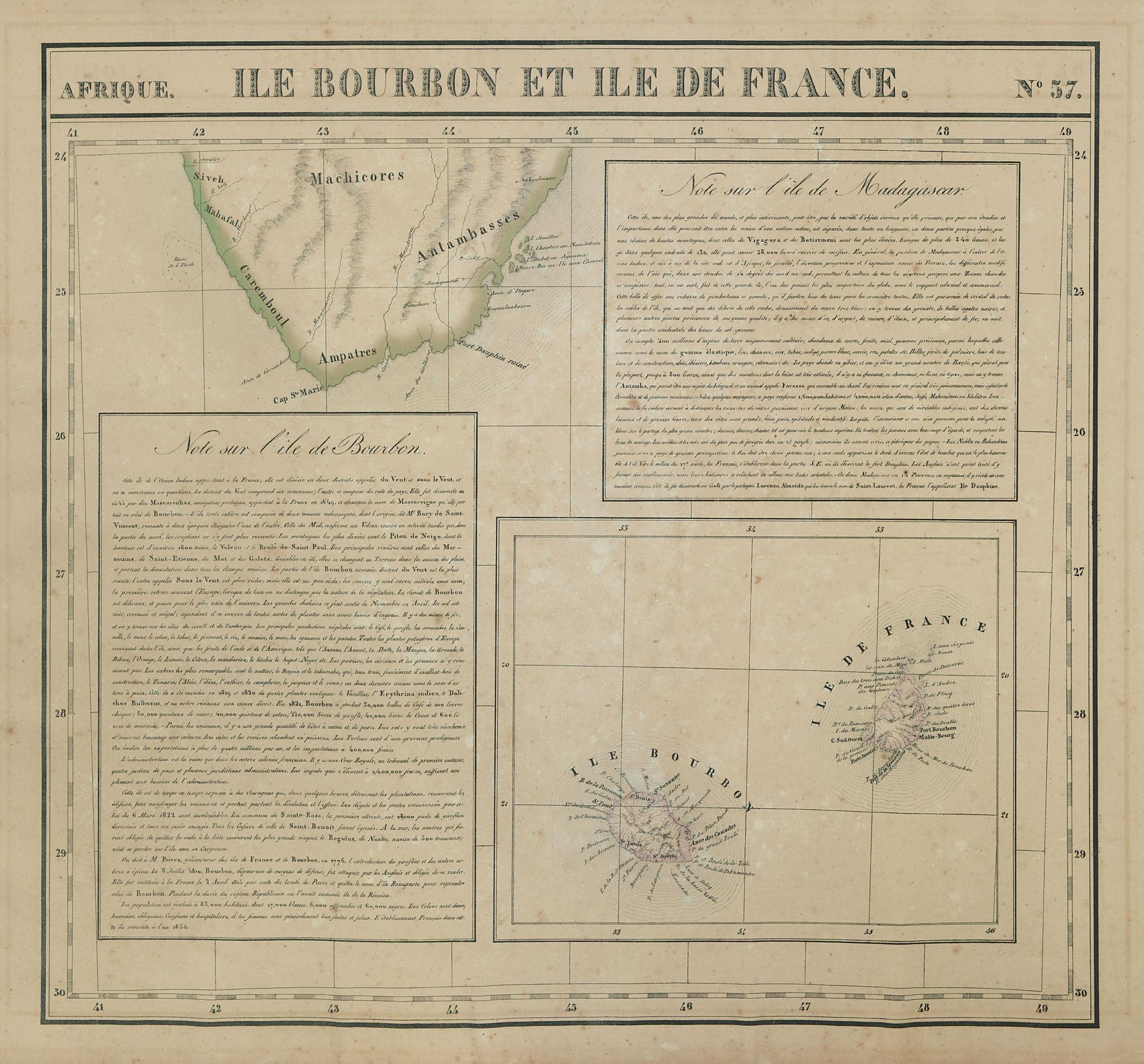 Afrique. Bourbon & Ile de France #57. Madagascar Mauritius VANDERMAELEN 1827 map