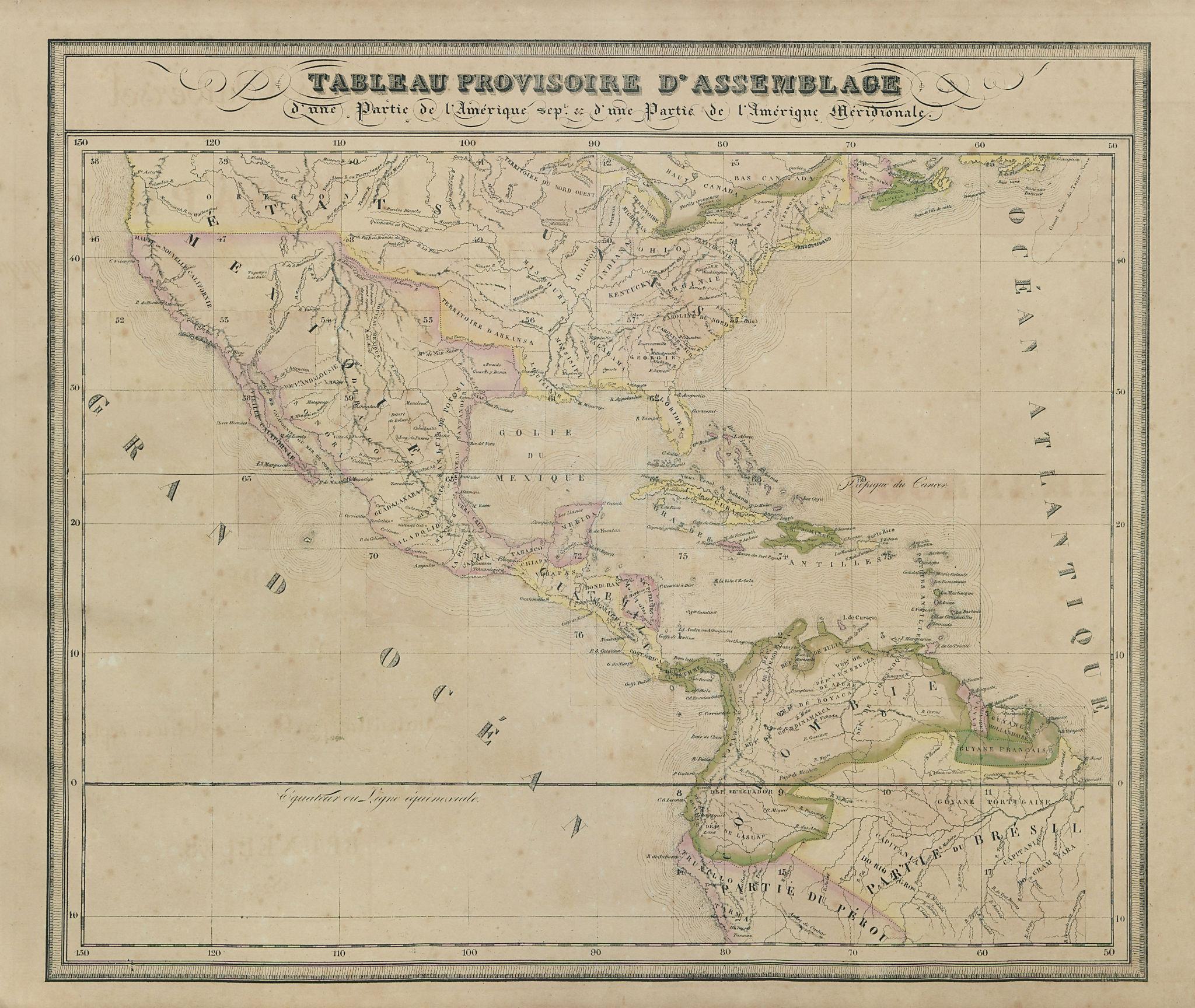 """Tableau Provisoire d'Assemblage…"" North & Central America VANDERMAELEN 1827 map"