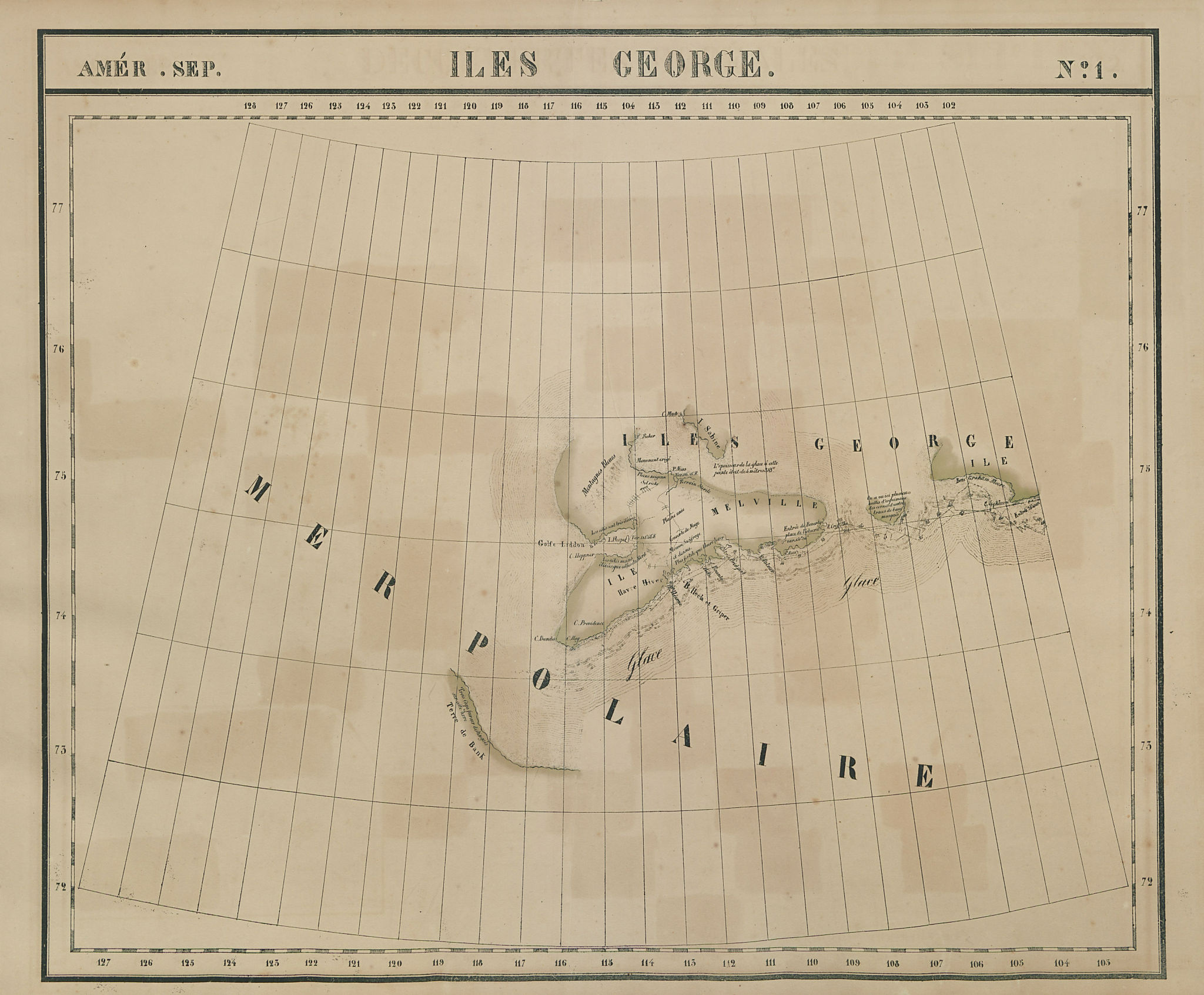 Amér. Sep. Iles George #1. Melville Island Canadian Arctic VANDERMAELEN 1827 map
