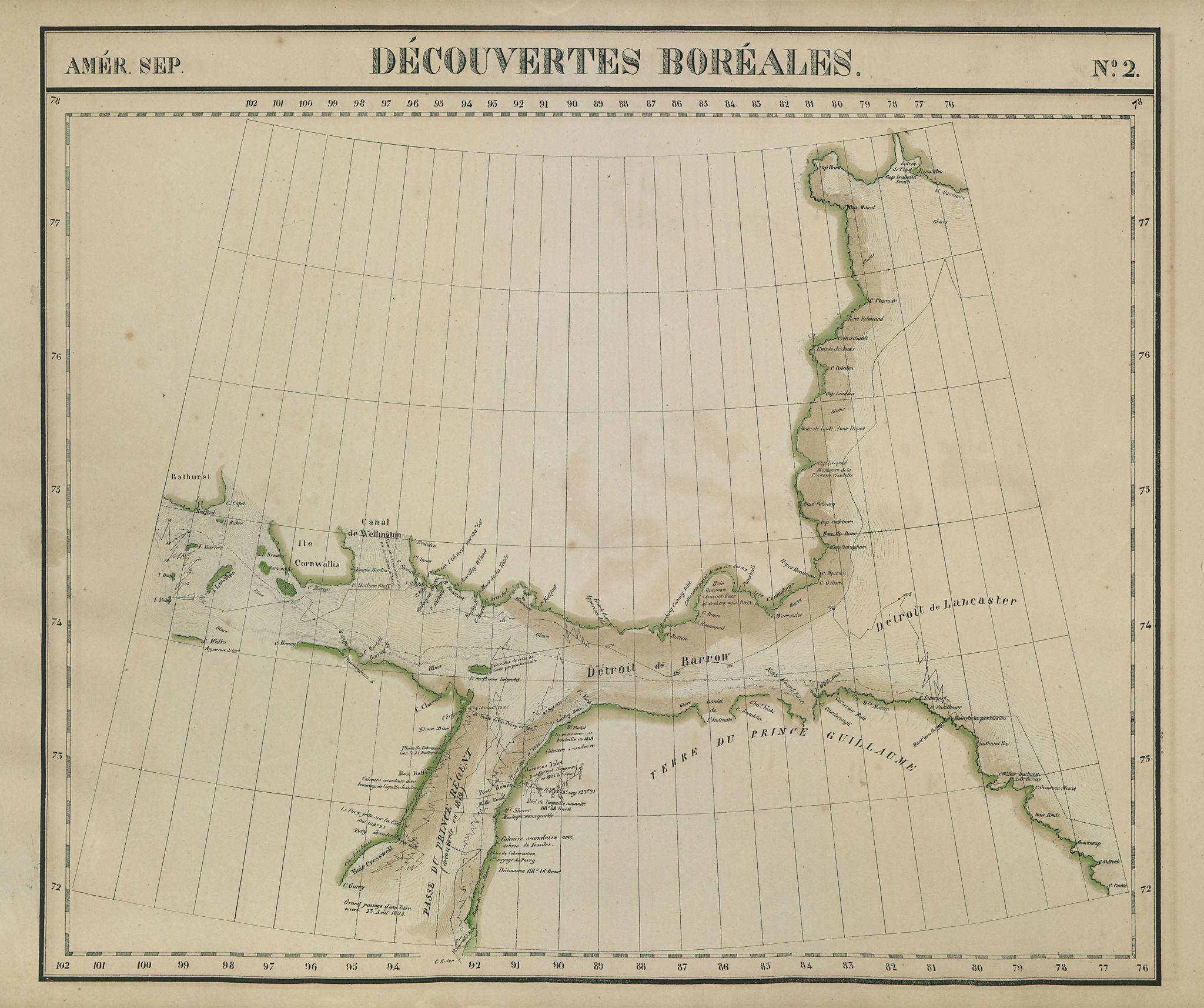 Amér. Sep. Découvertes Boréales #2. Nunavut. Barrow Strait VANDERMAELEN 1827 map