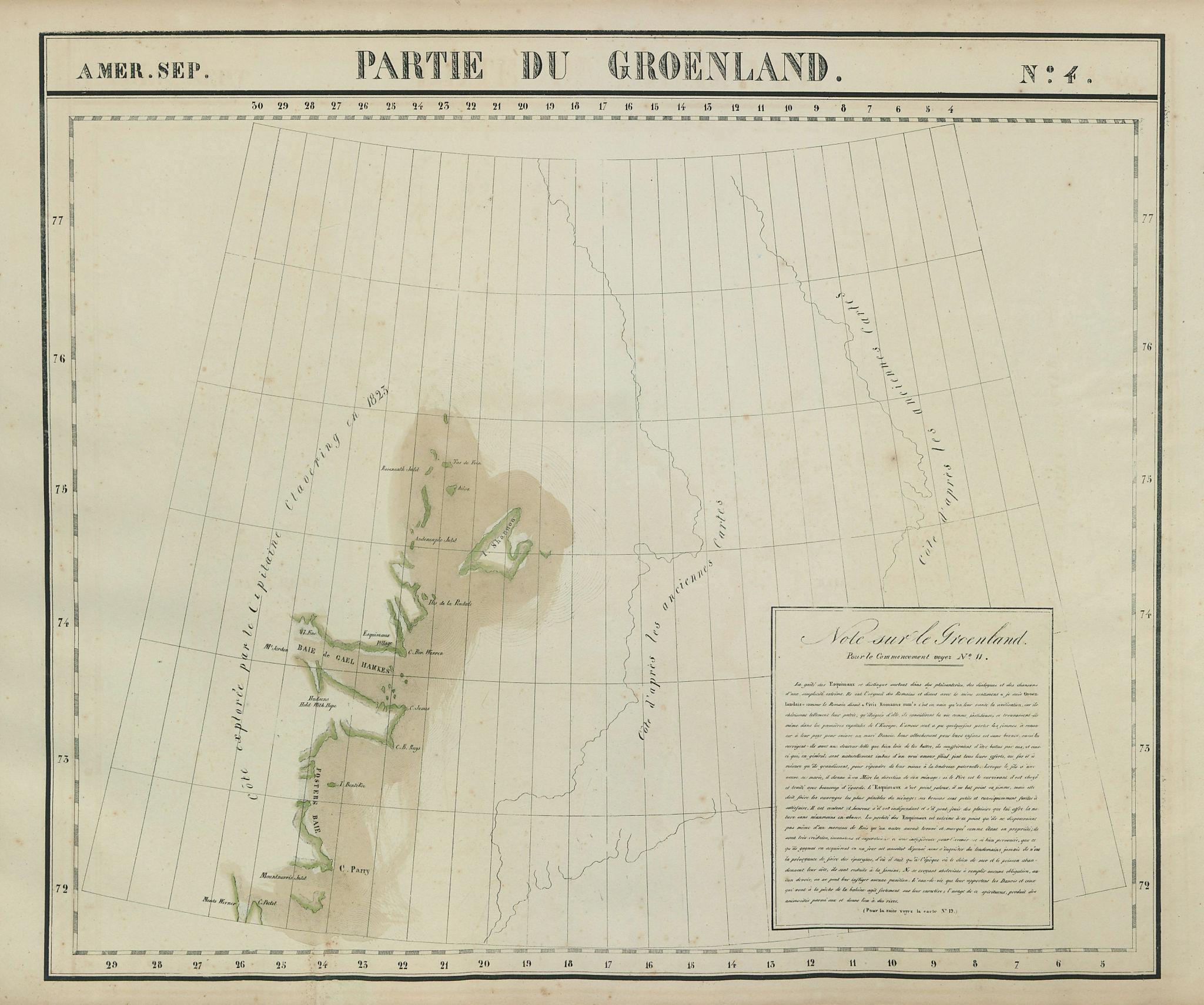 Amér. Sep. Partie du Groenland #4. North east Greenland. VANDERMAELEN 1827 map