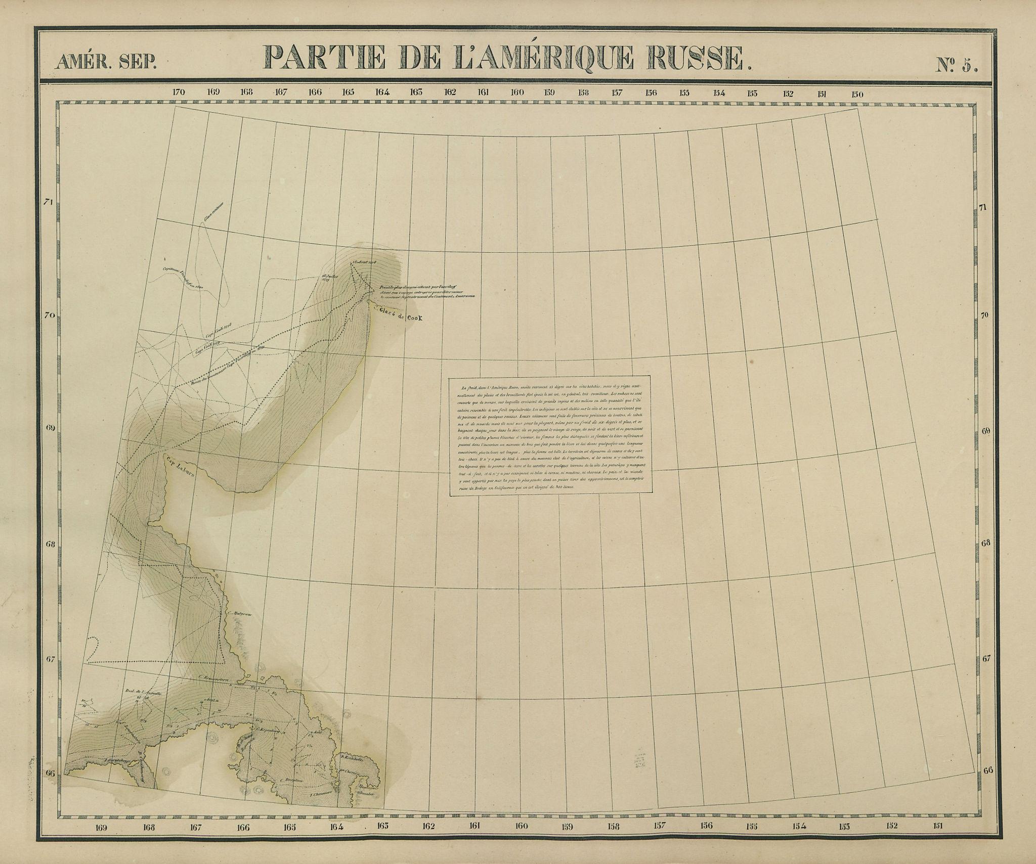 Amér. Sep. Partie de l'Amérique Russe #5 North west Alaska VANDERMAELEN 1827 map