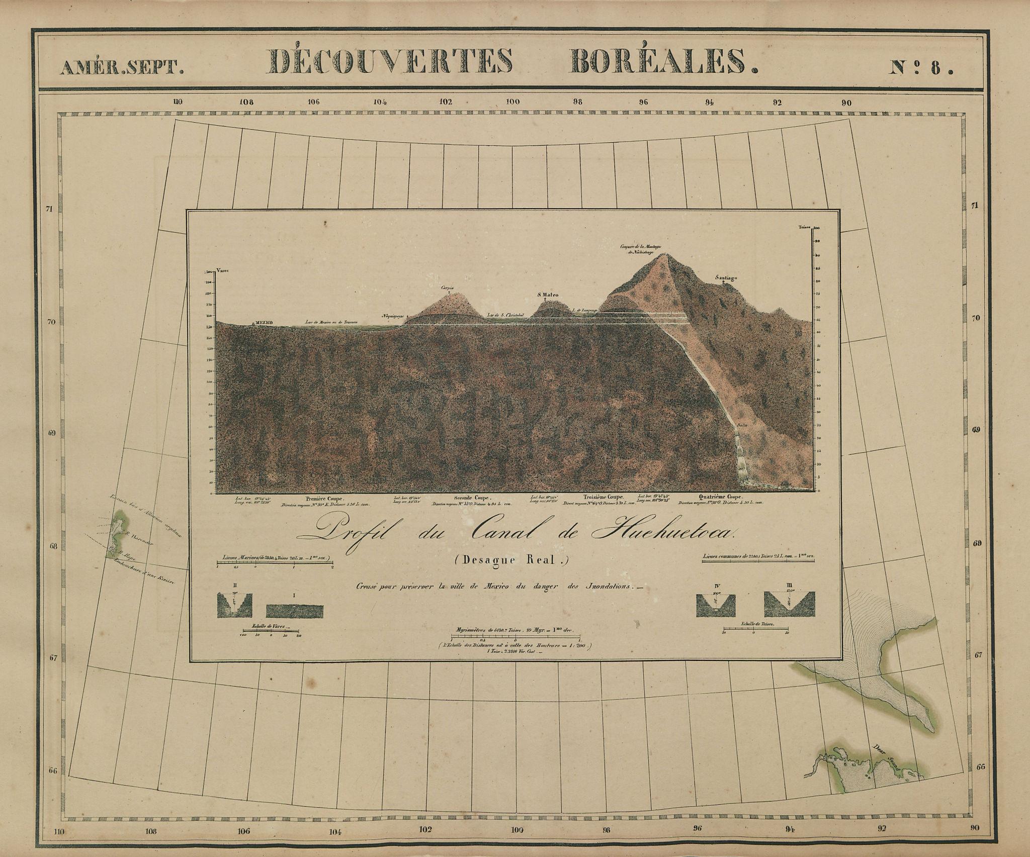Amér Sep Découvertes Boréales #8 Nochistongo canal profile VANDERMAELEN 1827 map