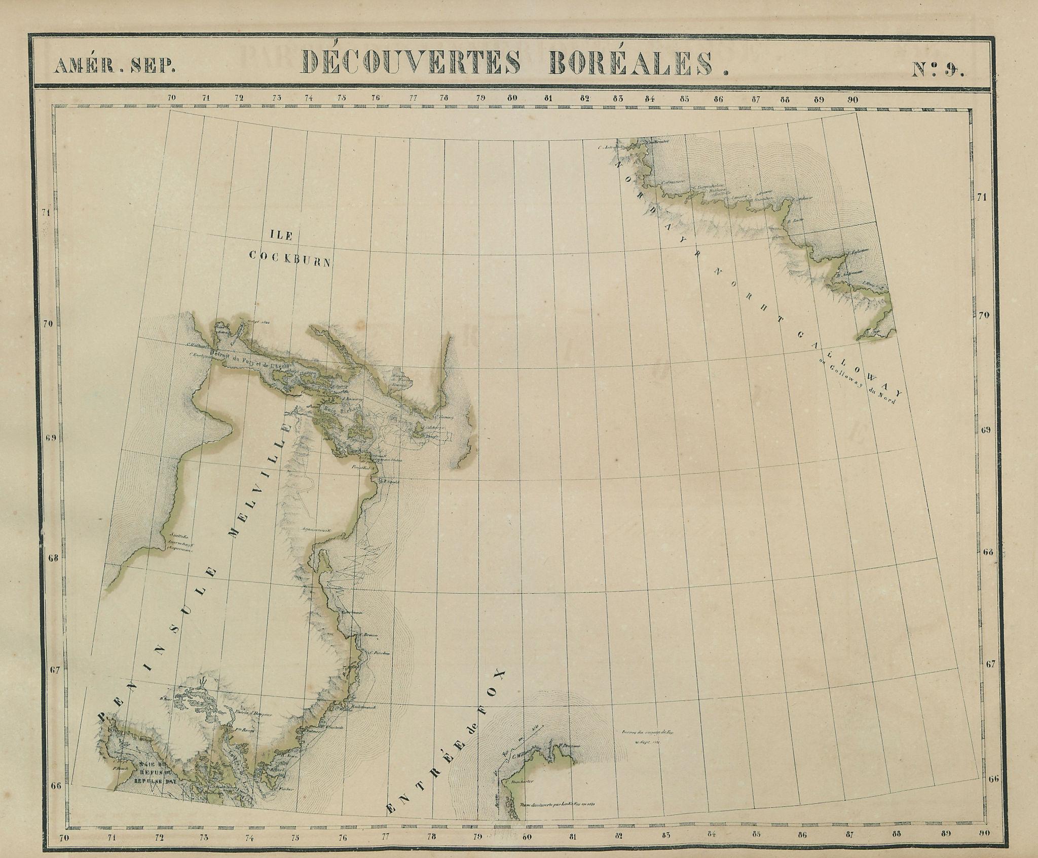 Amér. Sep. Découvertes Boréales #9. Melville Peninsula. VANDERMAELEN 1827 map