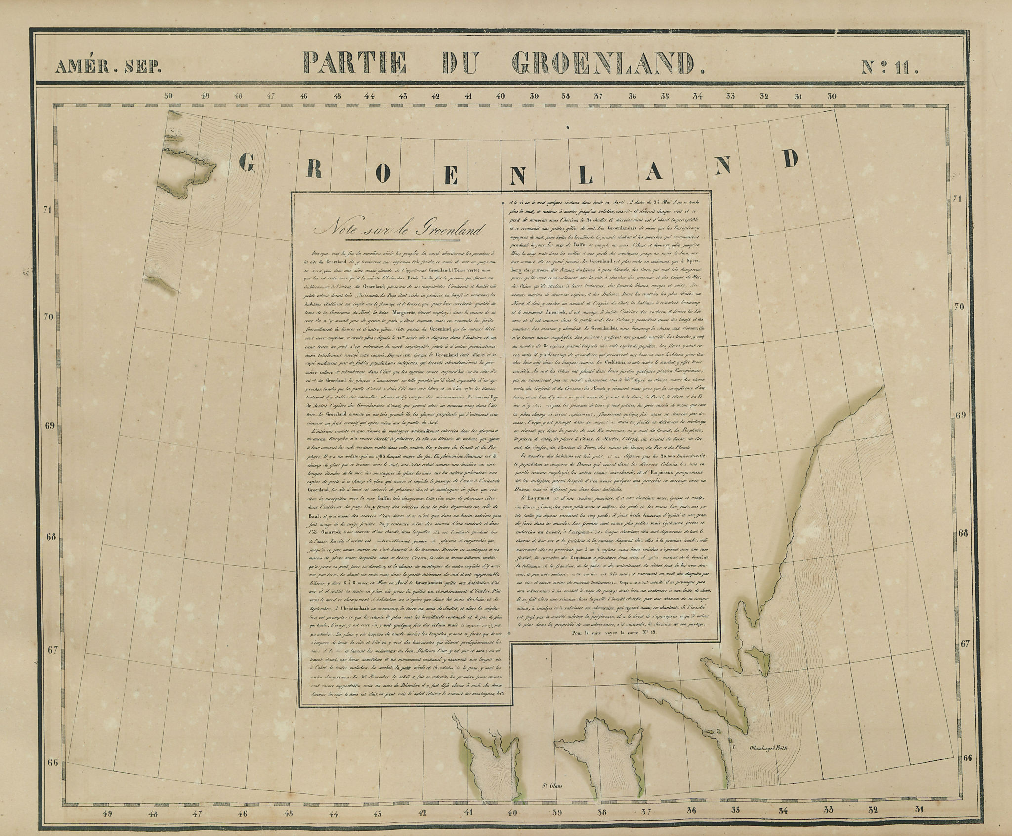 Amér. Sep. Partie du Groenland #11. Central Greenland. VANDERMAELEN 1827 map