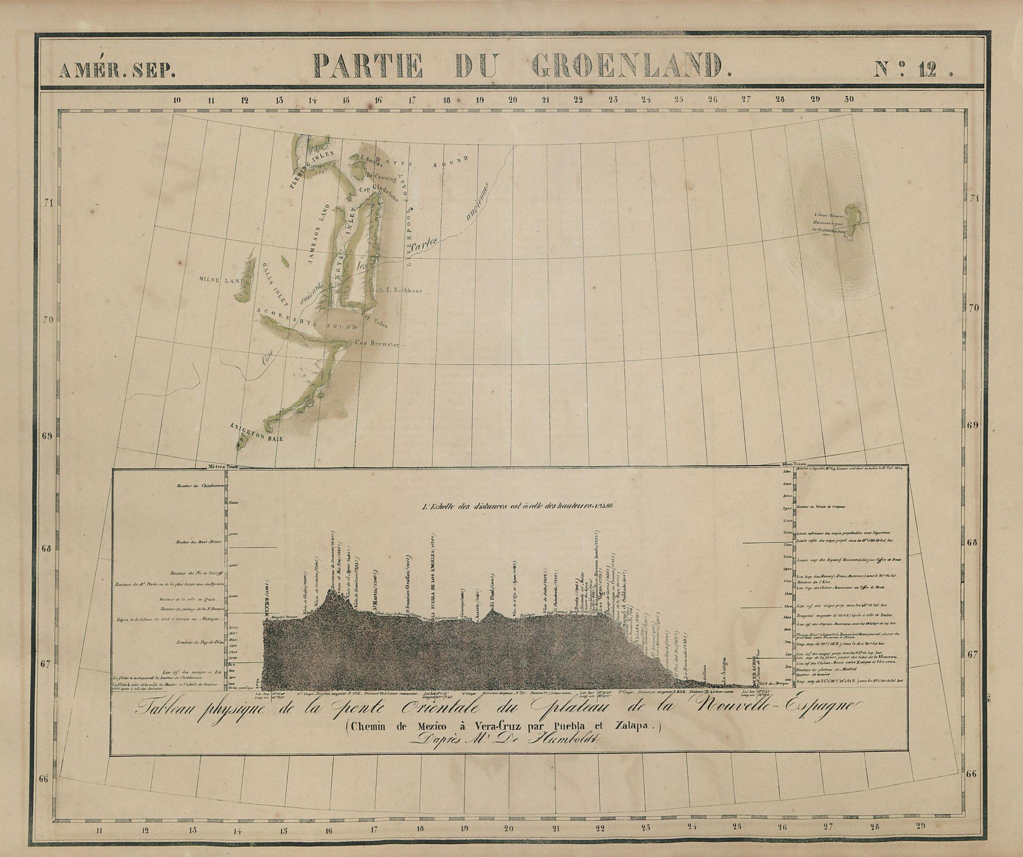 Amér Sep. Partie du Groenland #12 Greenland Mexico profile VANDERMAELEN 1827 map