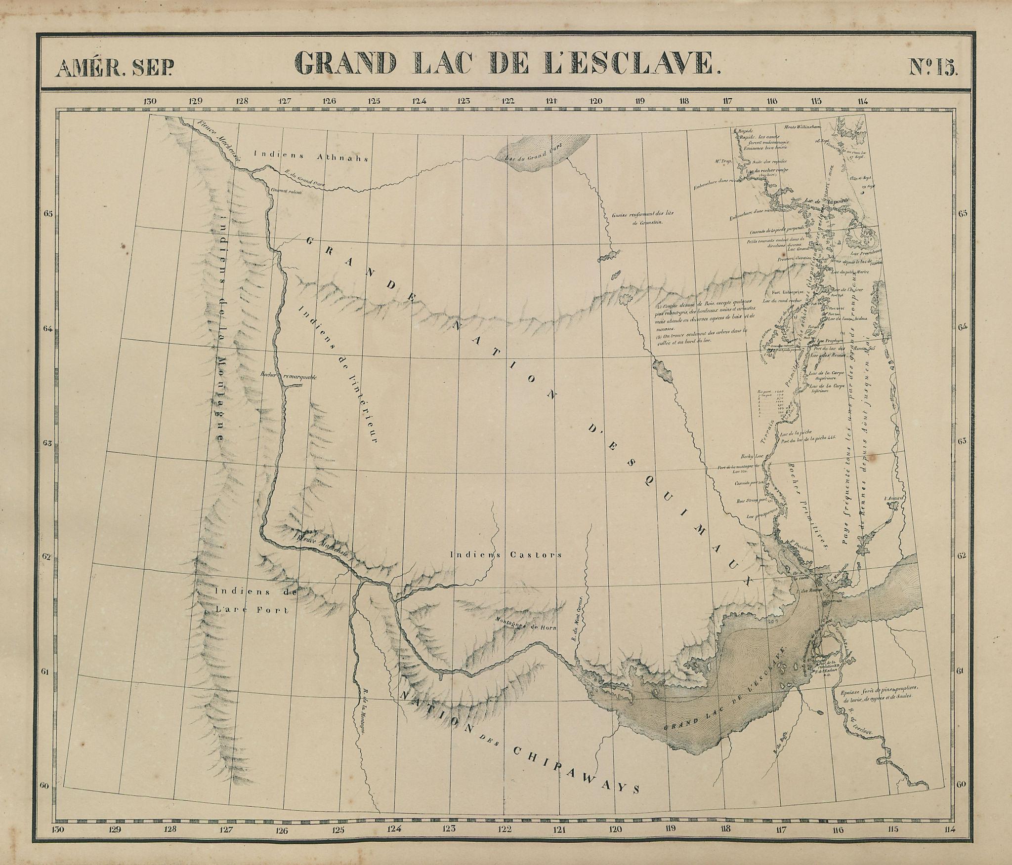 Amér. Sep. Grand Lac de l'Esclave #15. Great Slave Lake. VANDERMAELEN 1827 map