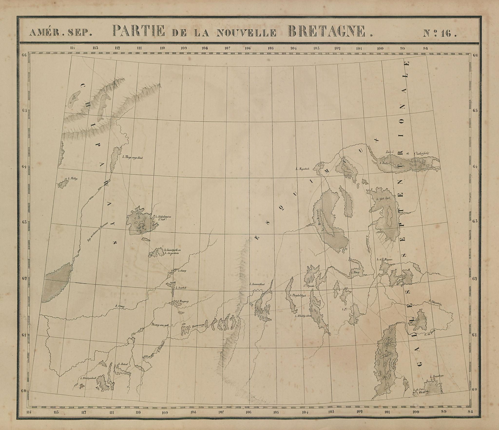 Amér. Sep. Partie de la Nouvelle Bretagne #16. NWT Nunavut VANDERMAELEN 1827 map