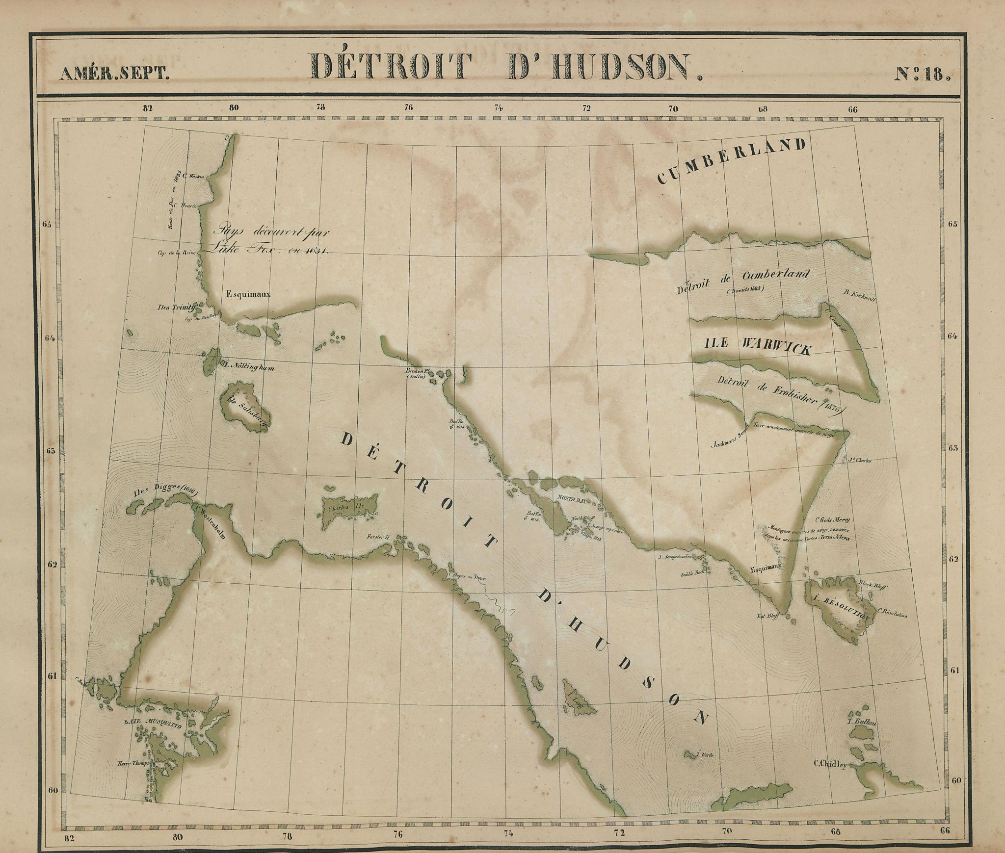 Amér Sep. Détroit d'Hudson Strait #18 Baffin Island Canada VANDERMAELEN 1827 map