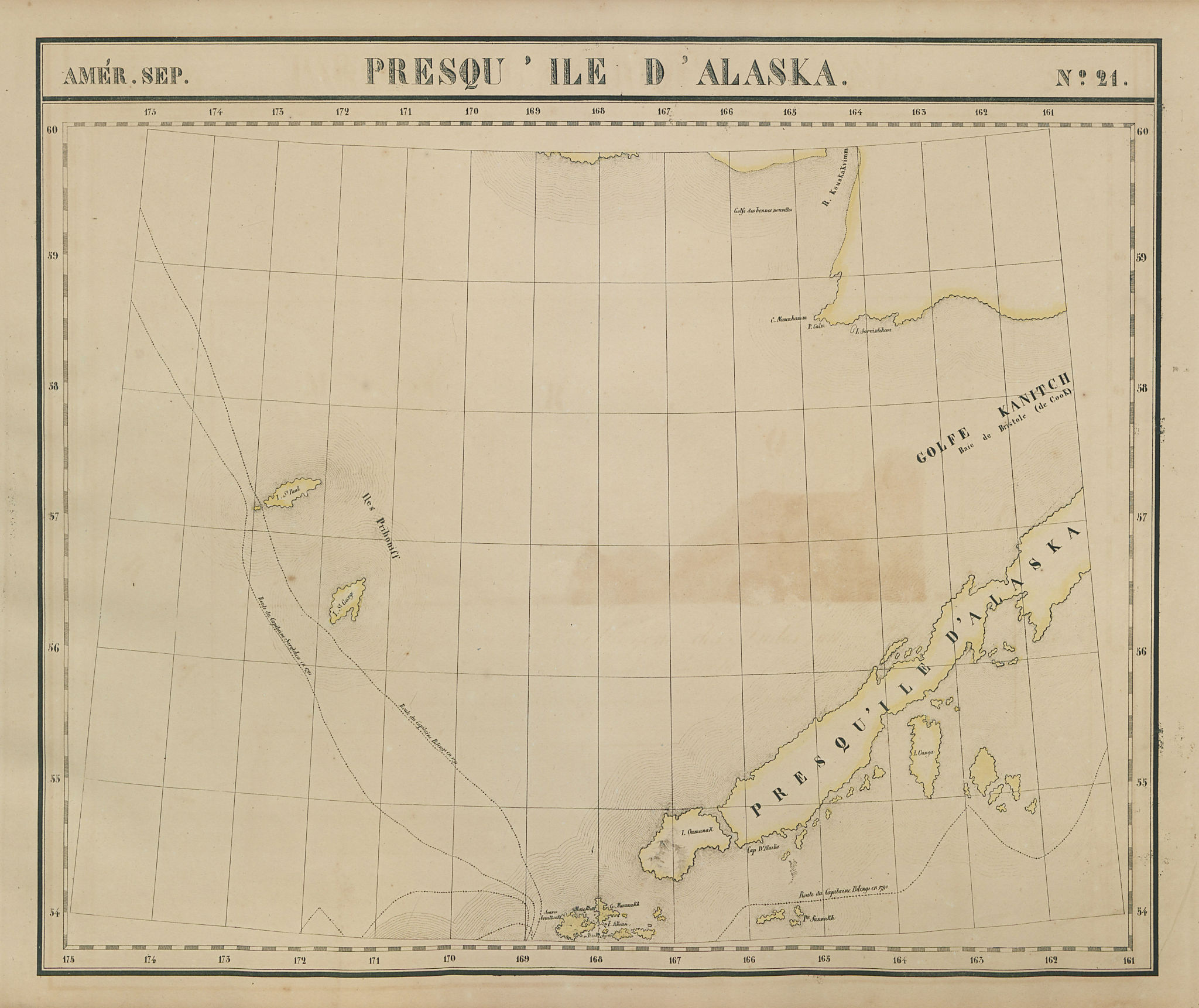 Amér. Sep. Presqu'ile d'Alaska Peninsula #21. Aleutian Arc VANDERMAELEN 1827 map