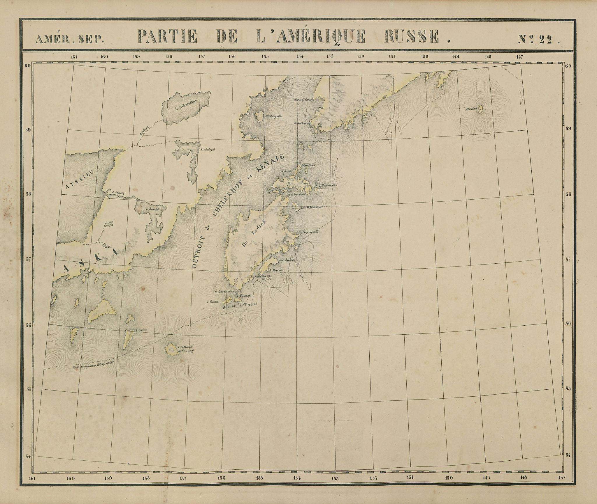 Amér. Sep. Partie de l'Amérique Russe #22. Alaska Kodiak. VANDERMAELEN 1827 map
