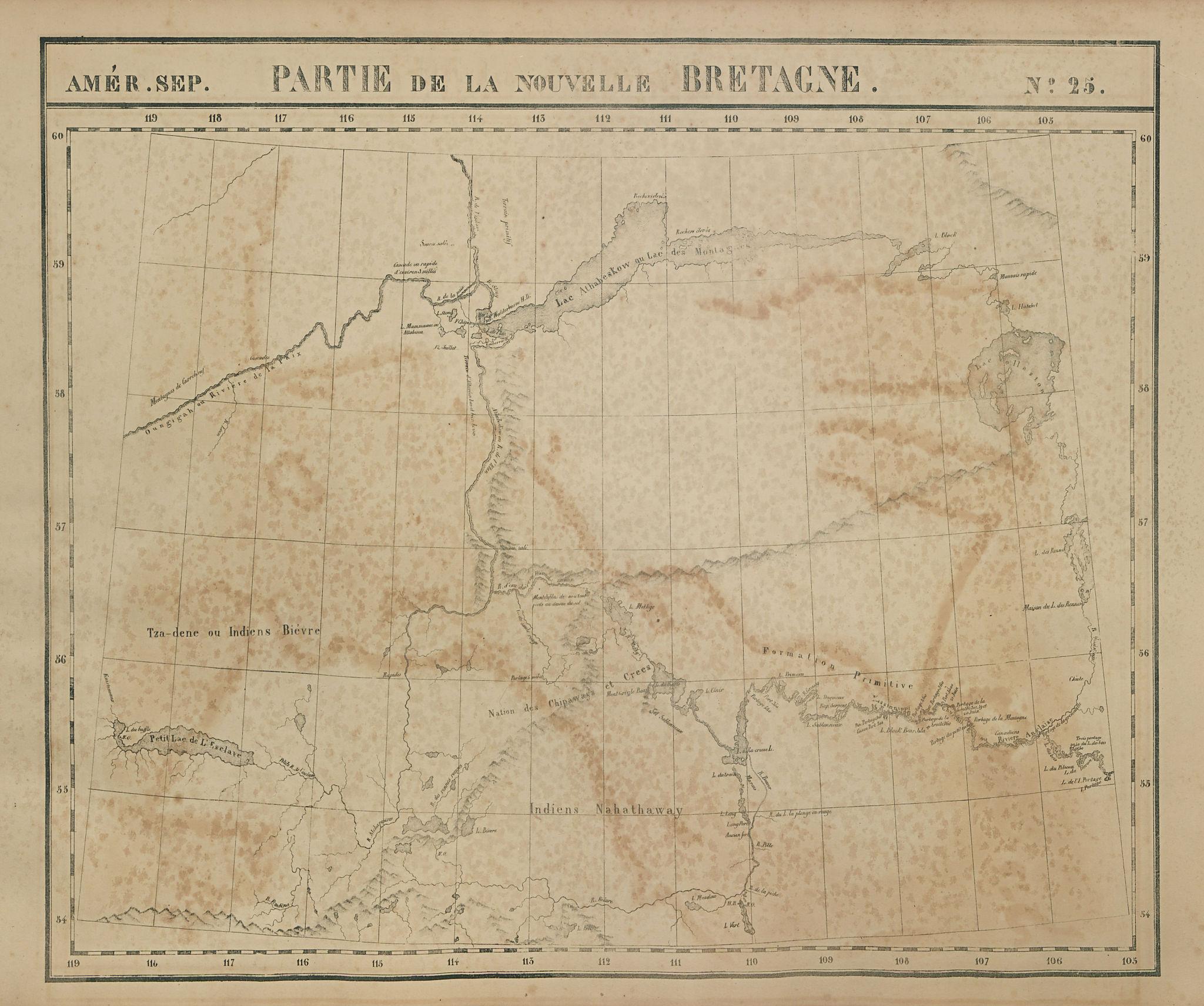 Amér Sep Partie de la Nouvelle Bretagne #25 Lake Athabasca VANDERMAELEN 1827 map