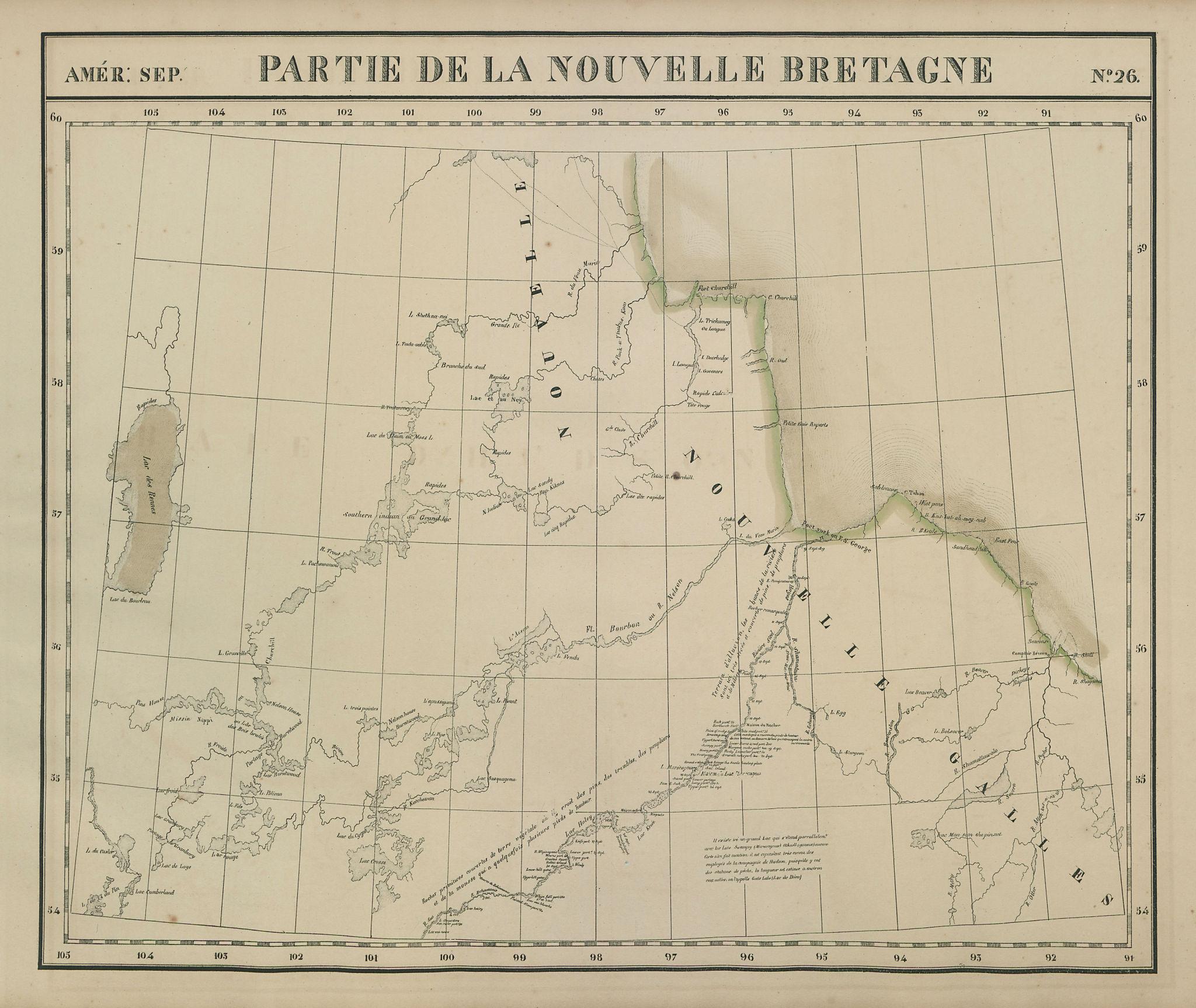 Amér Sep Partie de la Nouvelle Bretagne #26 North Manitoba VANDERMAELEN 1827 map