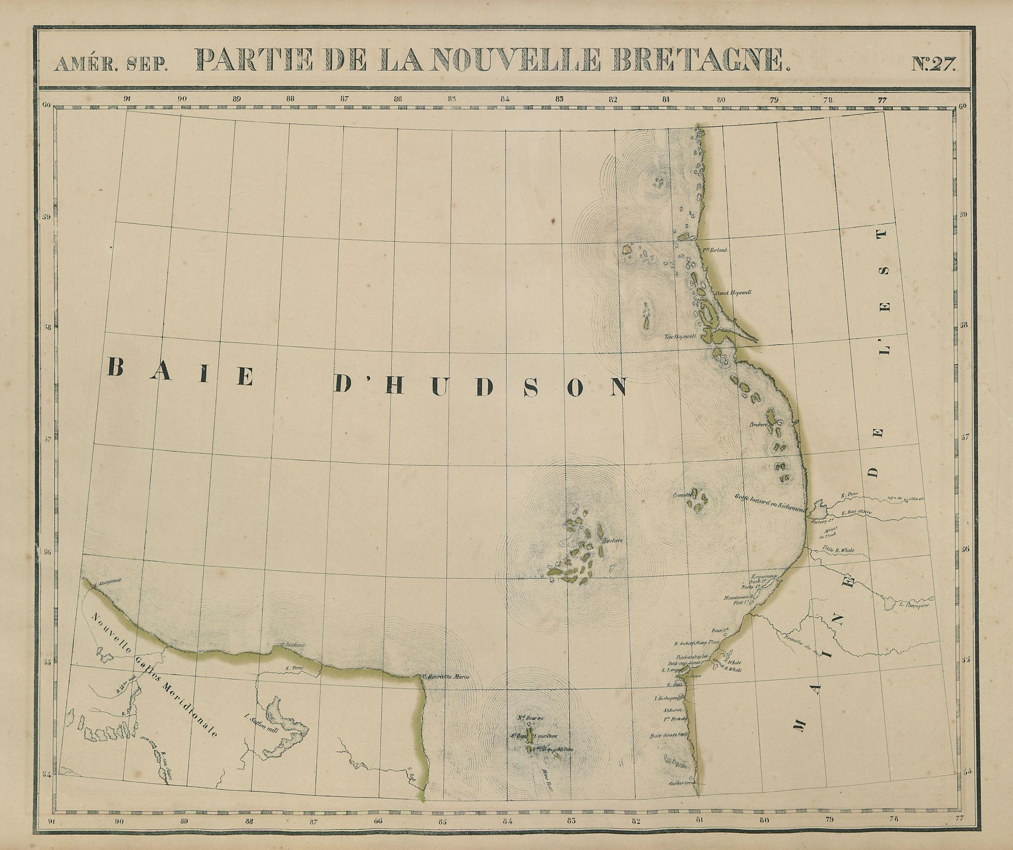 Amér. Sep. Partie de la Nouvelle Bretagne #27. Hudson Bay. VANDERMAELEN 1827 map