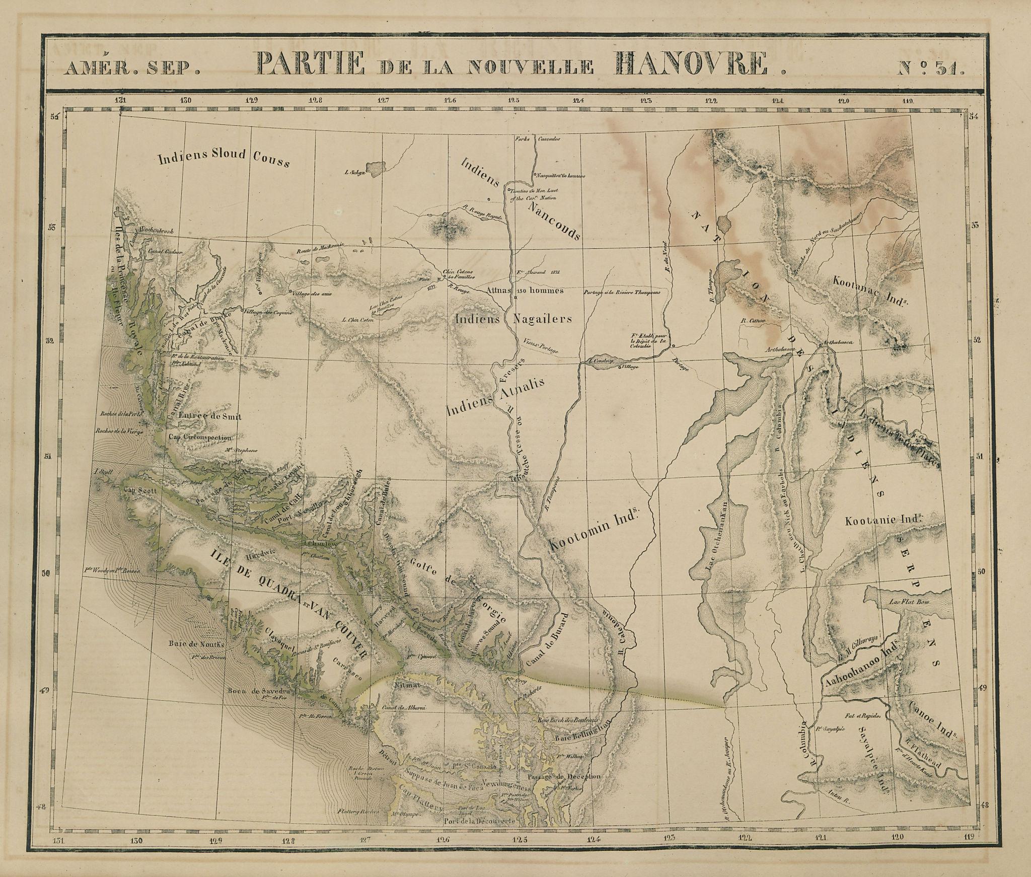 Amér Sep Partie de la Nouvelle Hanovre 31 British Columbia VANDERMAELEN 1827 map