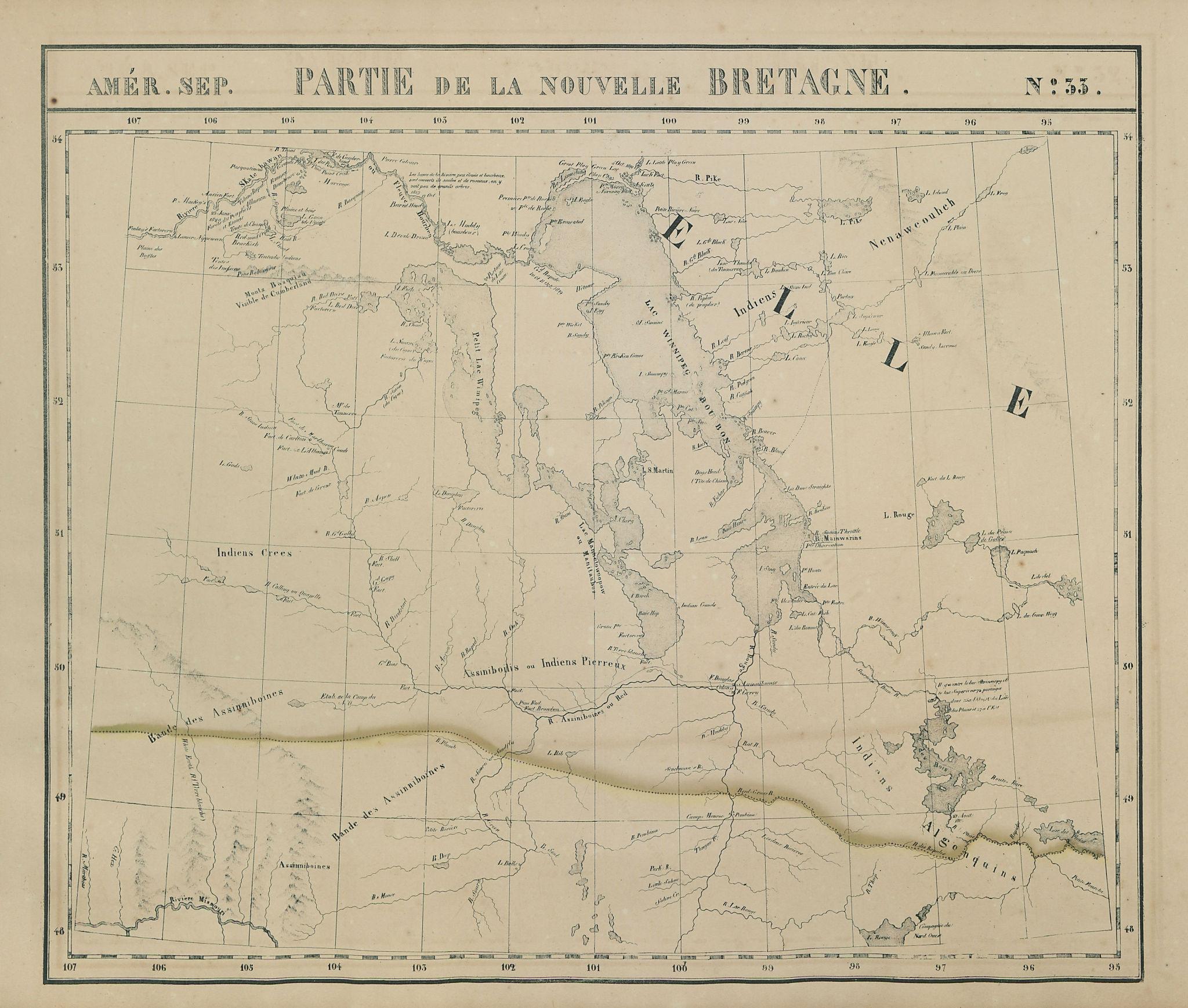 Amér Sep. Partie de la Nouvelle Bretagne #33 Lake Winnipeg VANDERMAELEN 1827 map