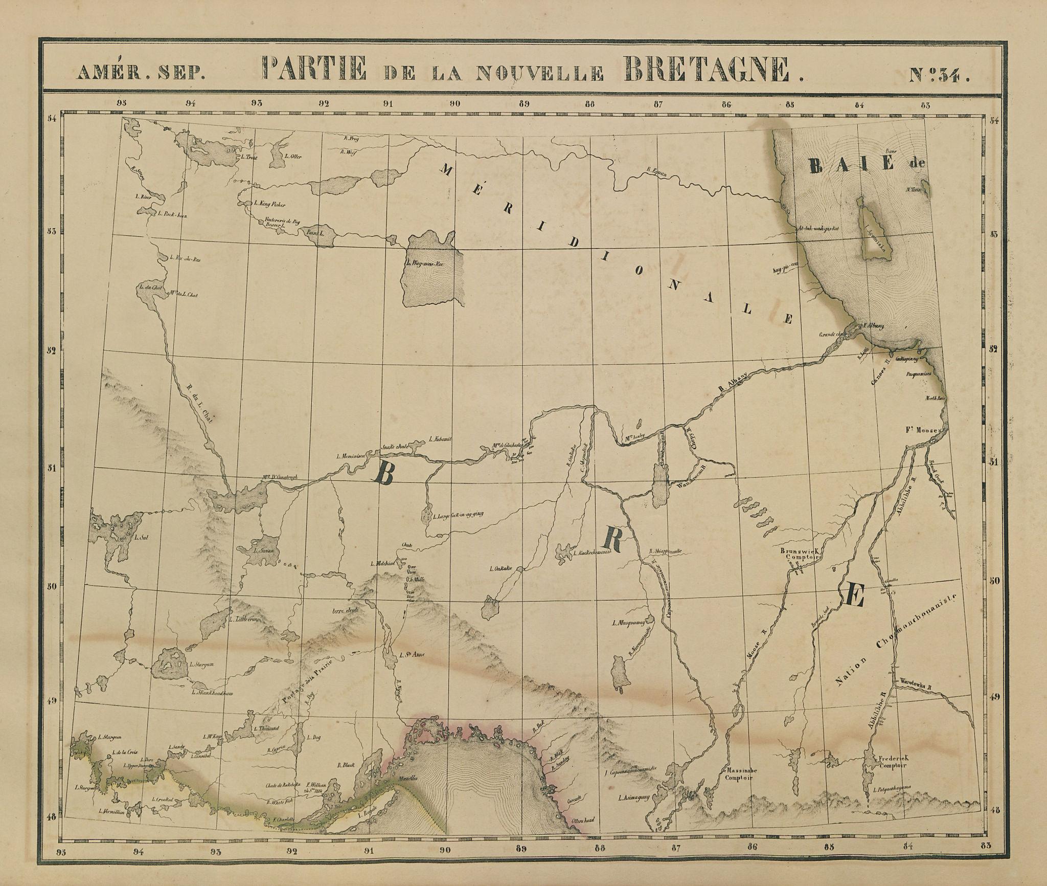 Amér Sep. Partie de la Nouvelle Bretagne #34 North Ontario VANDERMAELEN 1827 map