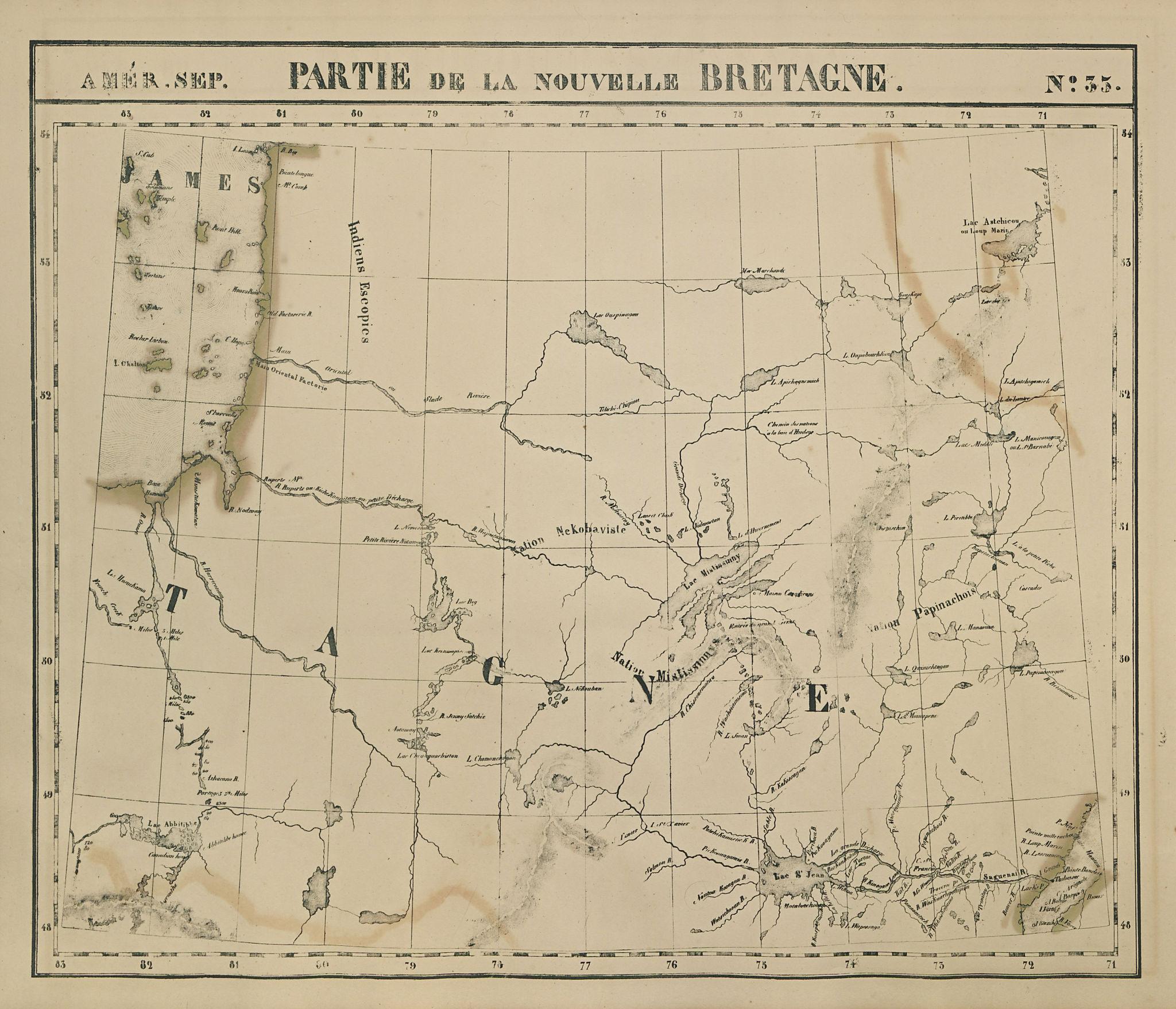 Amér Sep Partie de la Nouvelle Bretagne #35 Central Quebec VANDERMAELEN 1827 map