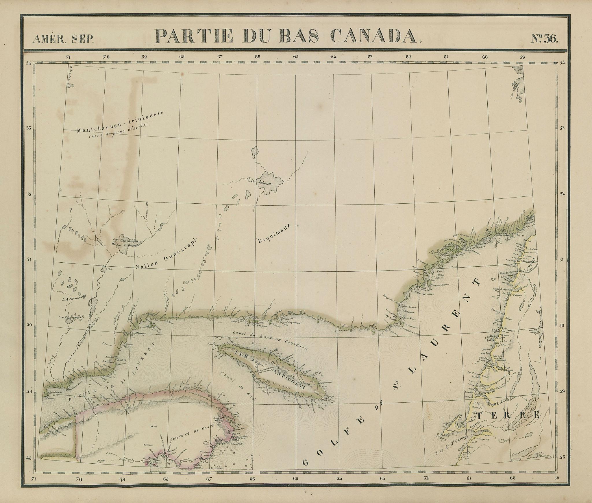 Amér. Sep. Partie du Bas Canada #36. Gulf of St Lawrence. VANDERMAELEN 1827 map