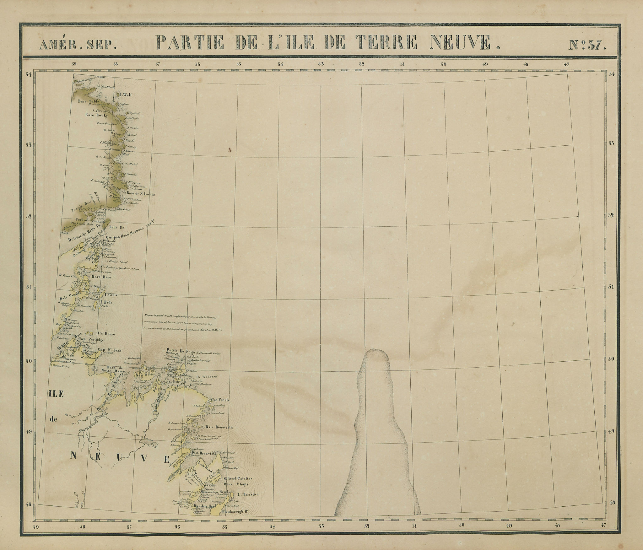 Amér. Sep. Partie de l'ile de Terre Neuve #37 Newfoundland VANDERMAELEN 1827 map