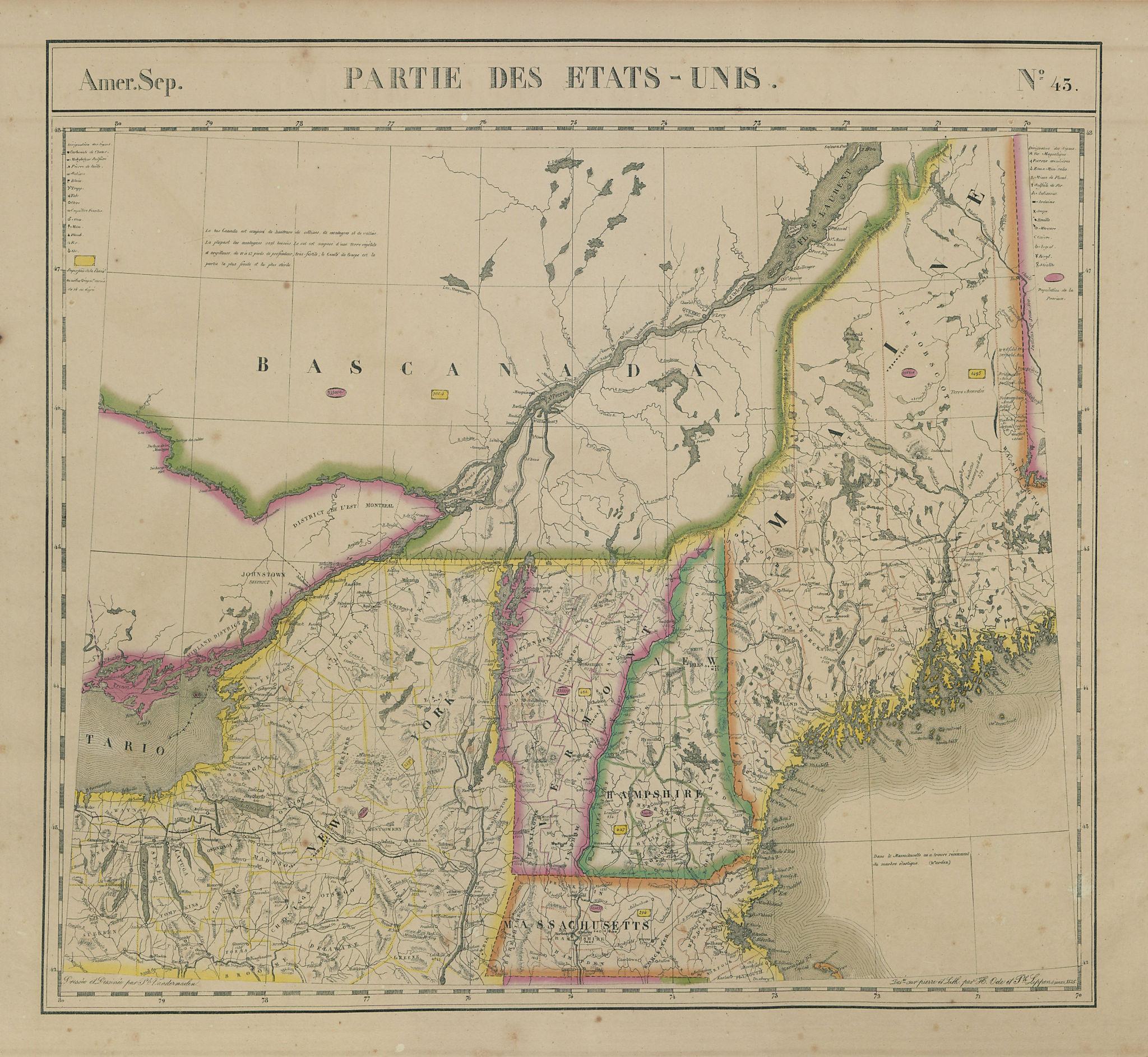 Amér. Sep. Partie des États-Unis #43 Canada New England NY VANDERMAELEN 1827 map