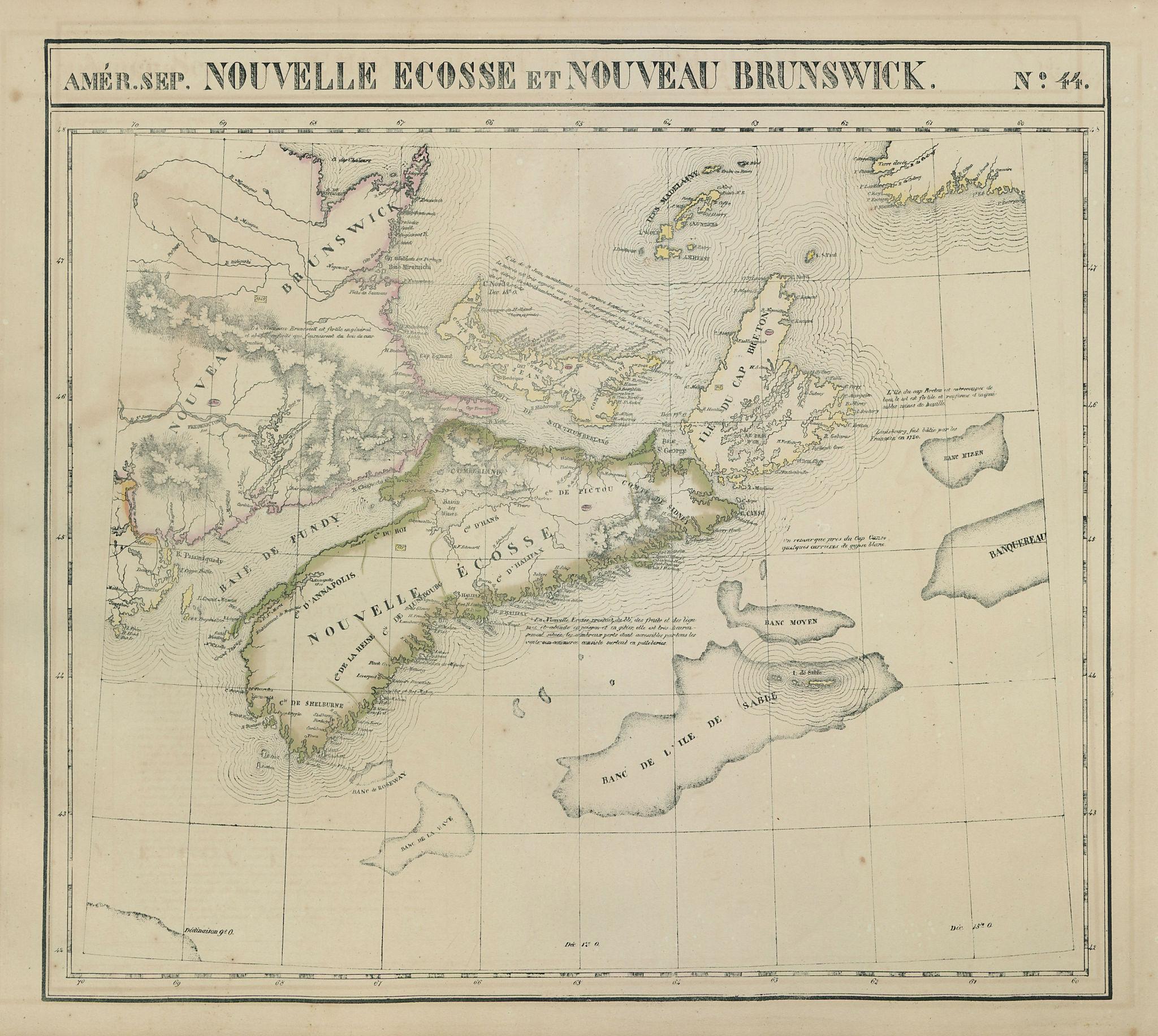 Amér. Sep. Nouvelle Écosse et Nouveau Brunswick #44 Canada VANDERMAELEN 1827 map