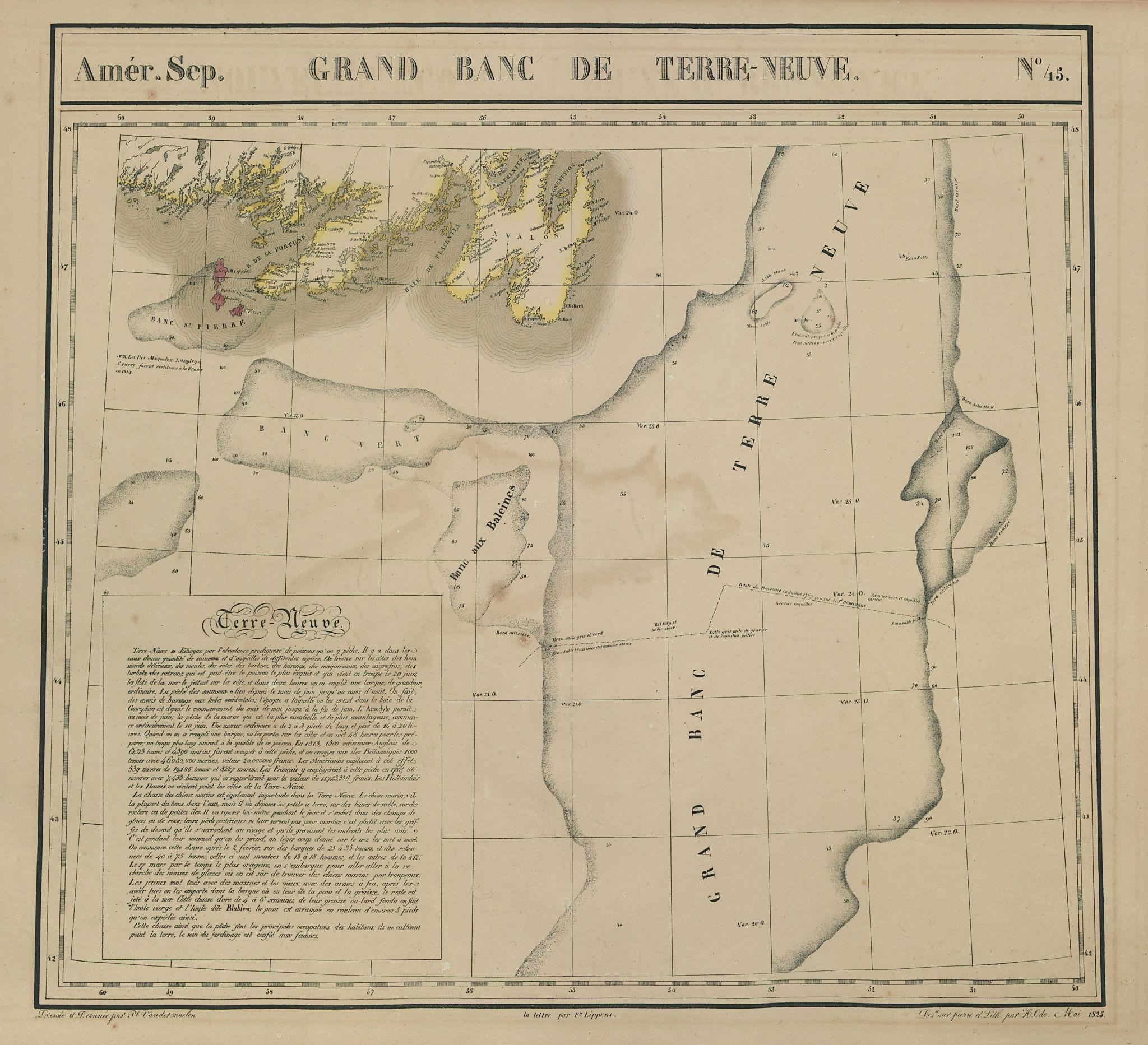 Amér. Sep. Grand Banc de Terre-Neuve #45. Newfoundland. VANDERMAELEN 1827 map