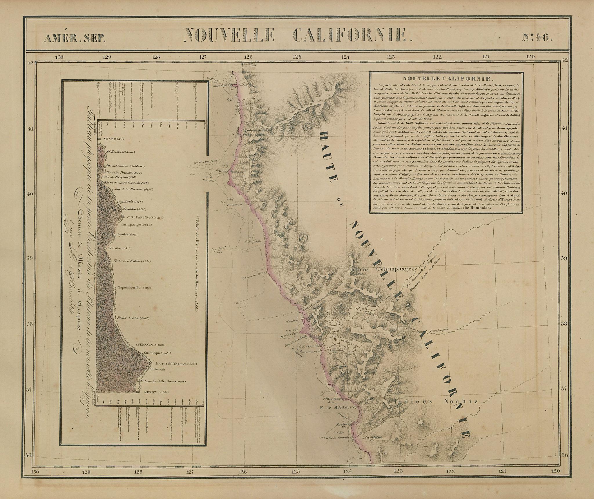 Amér. Sep. Nouvelle Californie #46. Northern California. VANDERMAELEN 1827 map