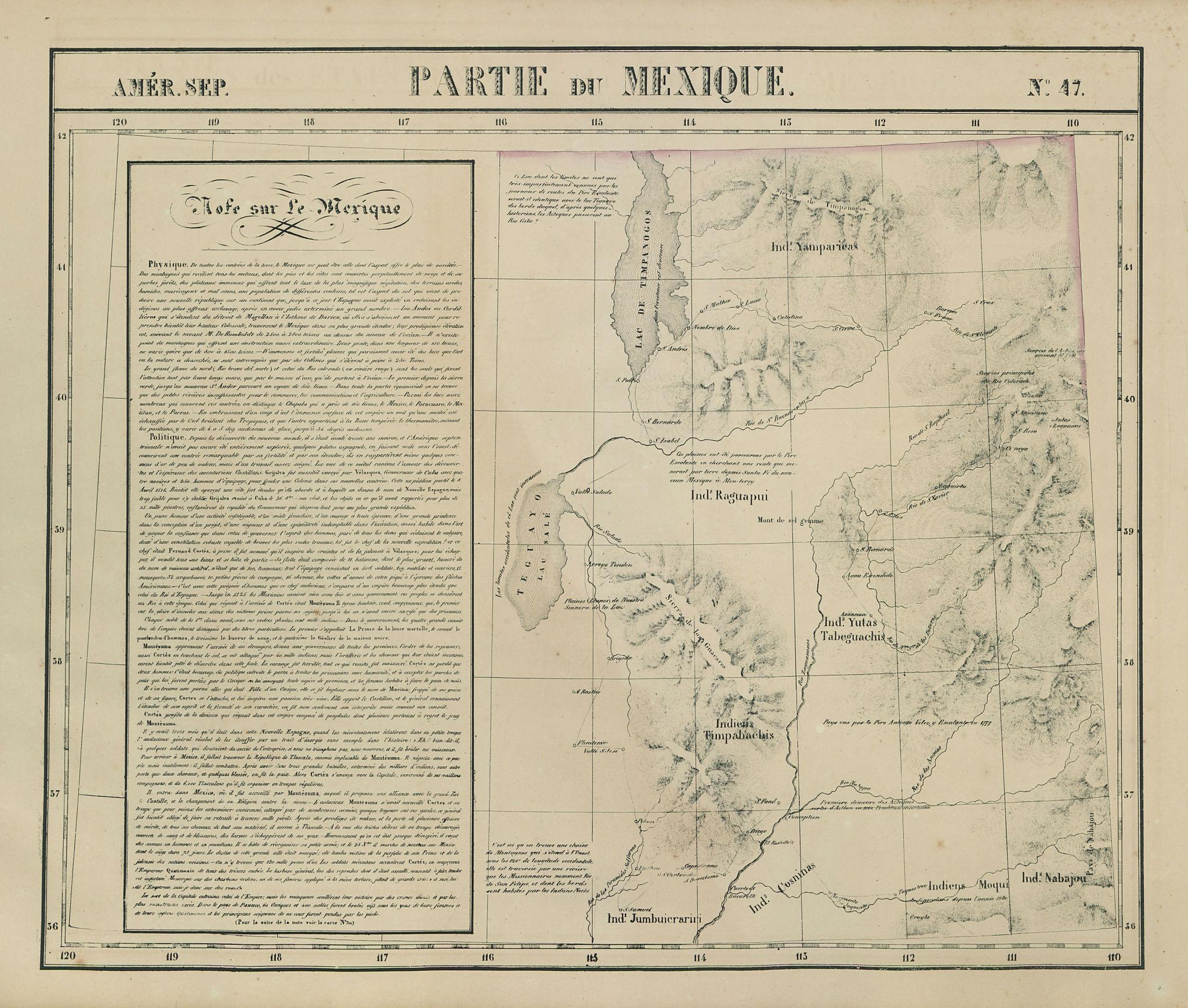 Amér. Sep. Partie de Mexique #47. Utah. Great Salt Lake. VANDERMAELEN 1827 map