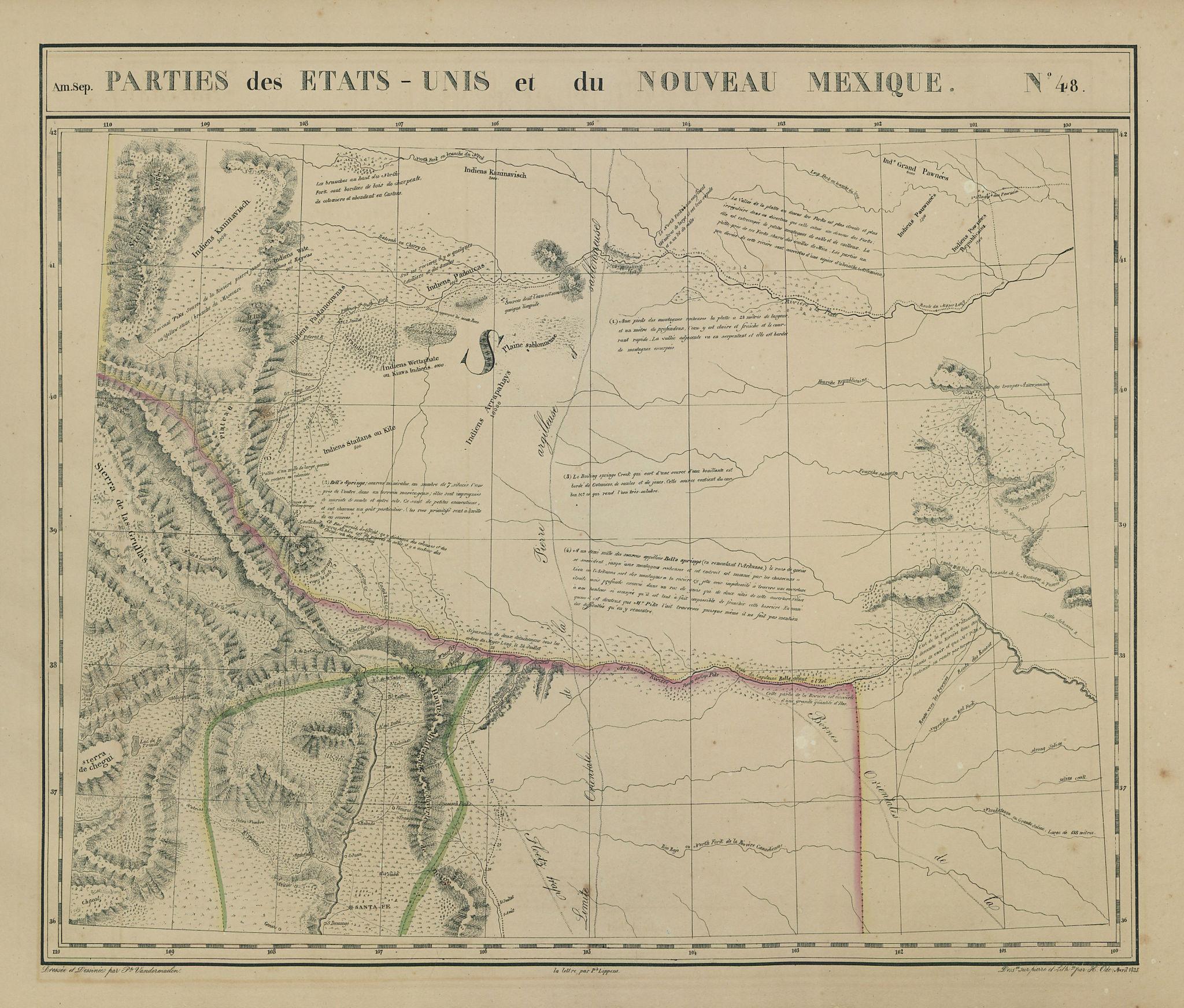 Amér Sep Parties… États-Unis & Nouveau Mexique 48 Colorado VANDERMAELEN 1827 map
