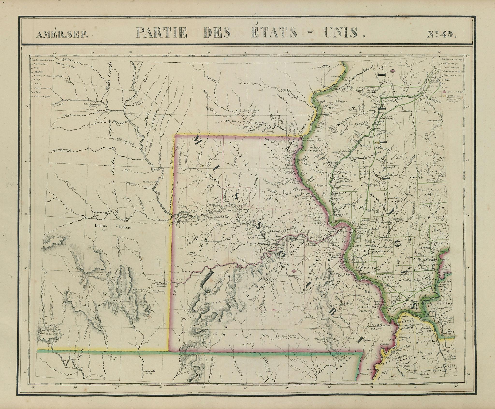Amér. Sep. Parties des États-Unis #49. Missouri Illinois. VANDERMAELEN 1827 map