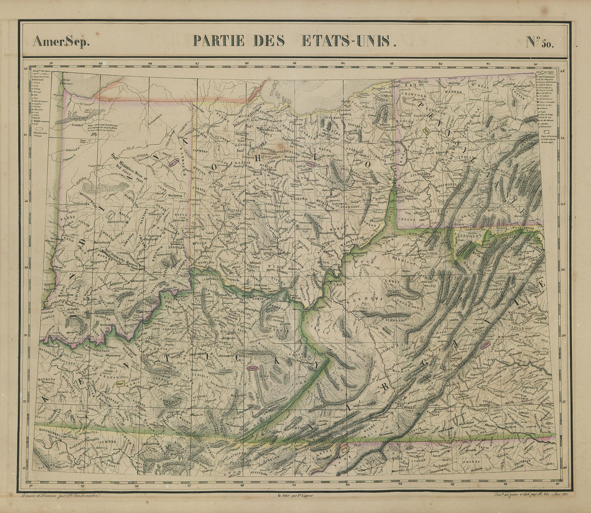 Amér Sep Parties des États-Unis #50 Ohio KY WV VA IN PA. VANDERMAELEN 1827 map