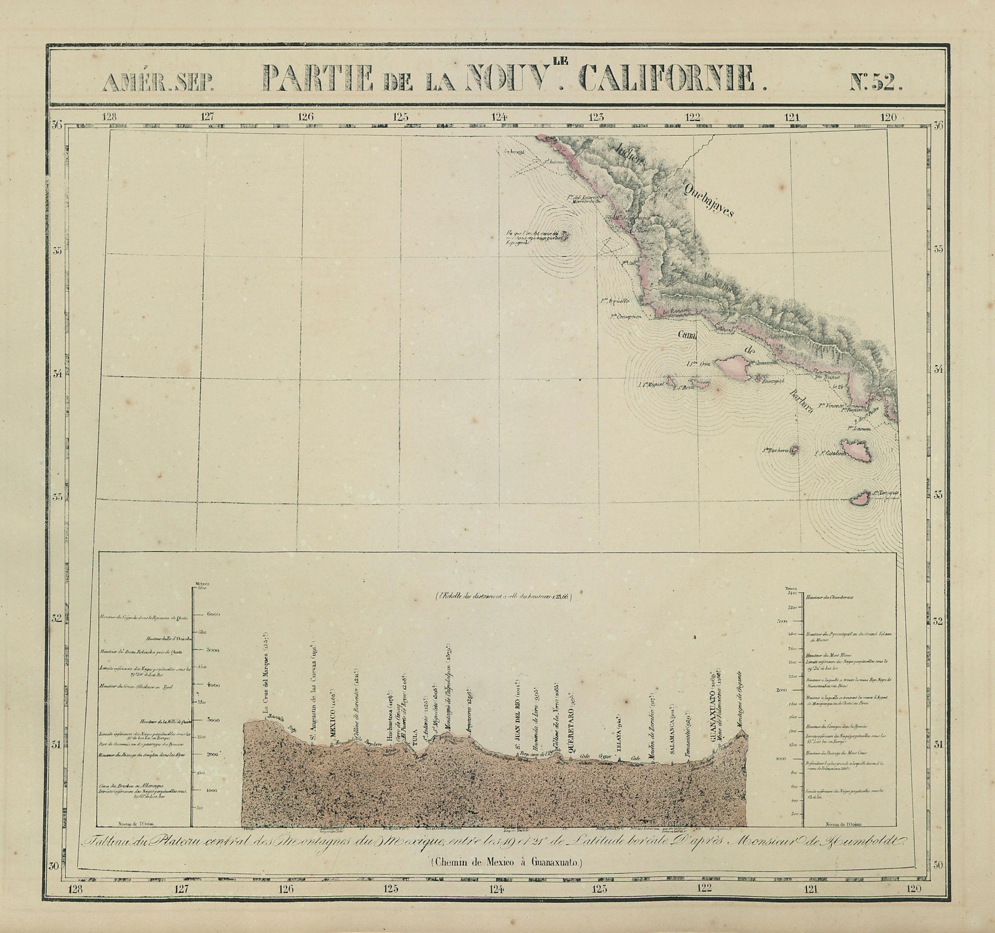 Amér Sep Partie de la Nouveau le Californie #52 California VANDERMAELEN 1827 map