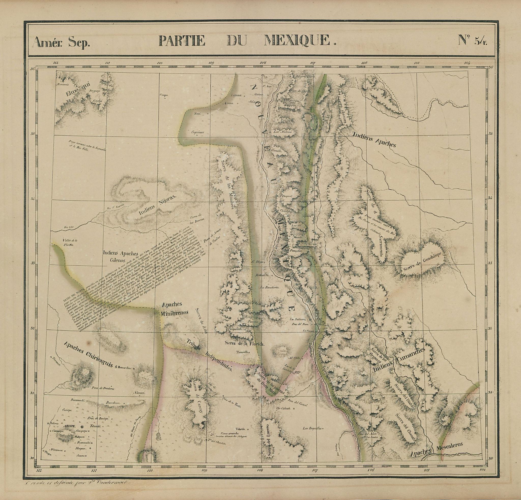 Amér Sep Partie du Mexique #54 New Mexico Texas Rio Grande VANDERMAELEN 1827 map