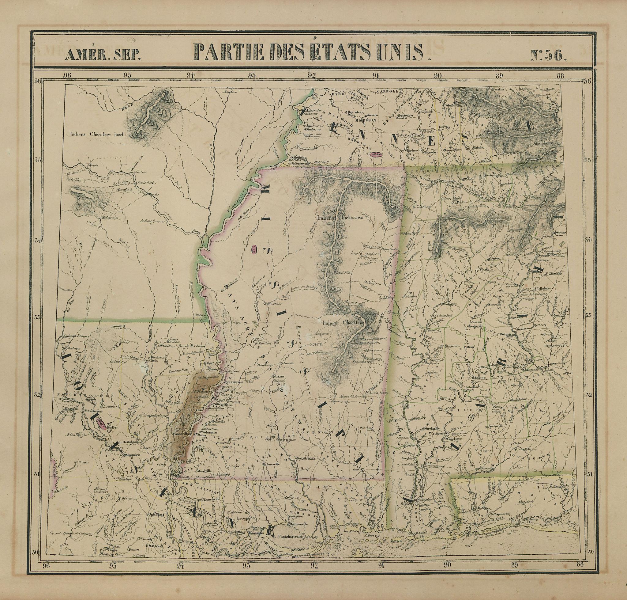 Amér. Sep. Partie des États-Unis #56. Mississippi Alabama. VANDERMAELEN 1827 map
