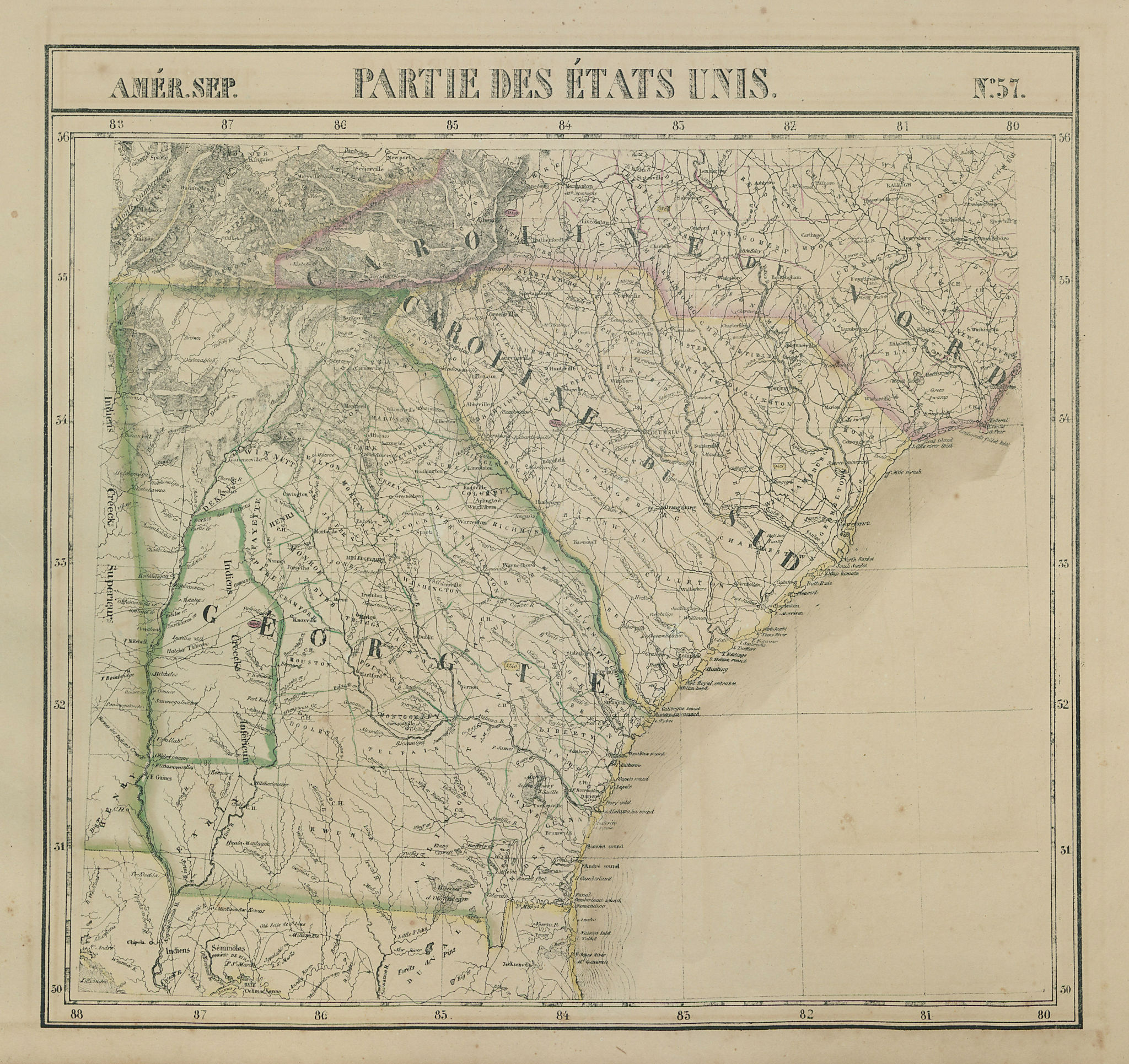 Amér Sep. Partie des États-Unis #57 Georgia South Carolina VANDERMAELEN 1827 map
