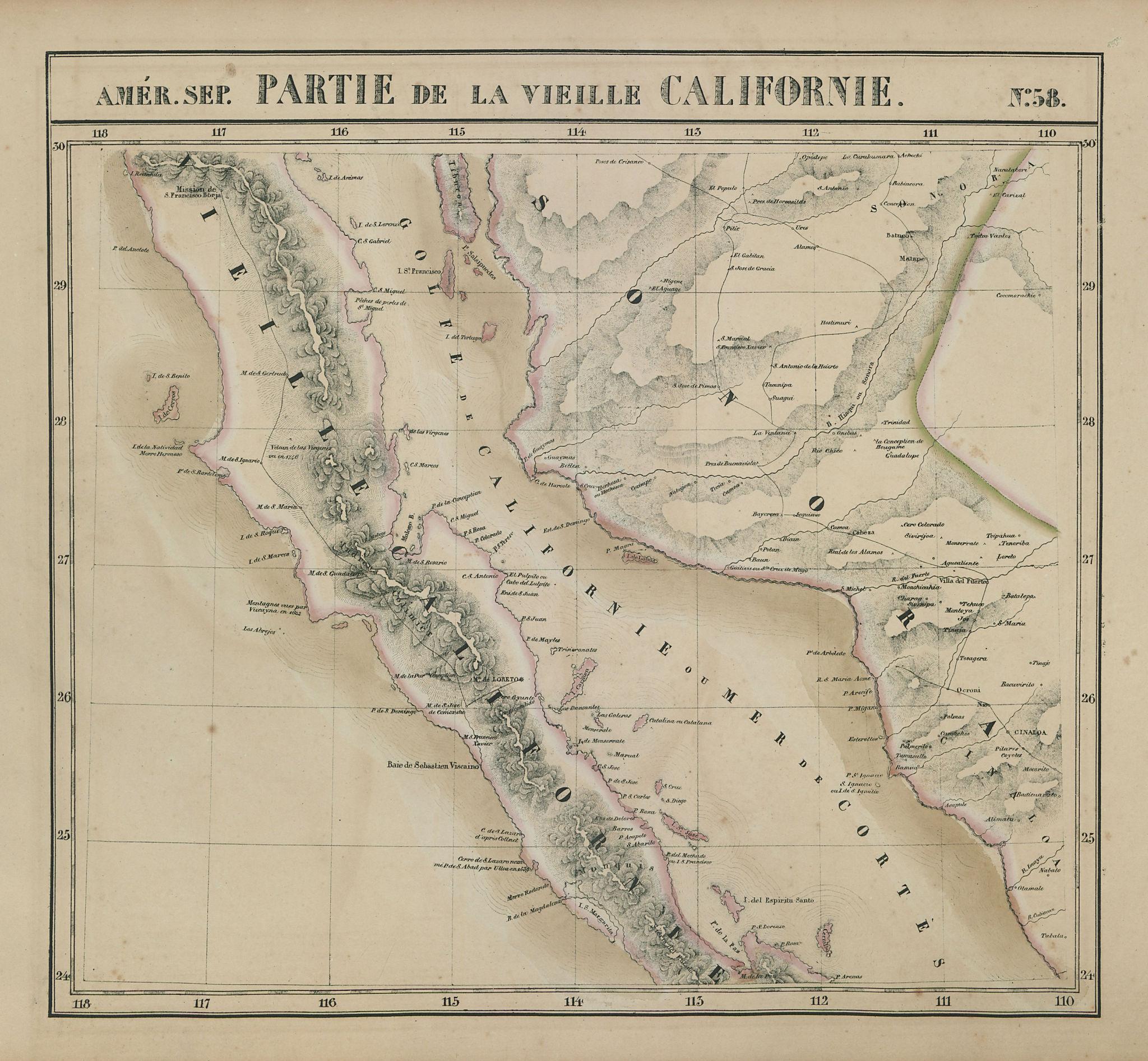 Amér Sep Partie de la Vielle Californie 58 Baja California VANDERMAELEN 1827 map