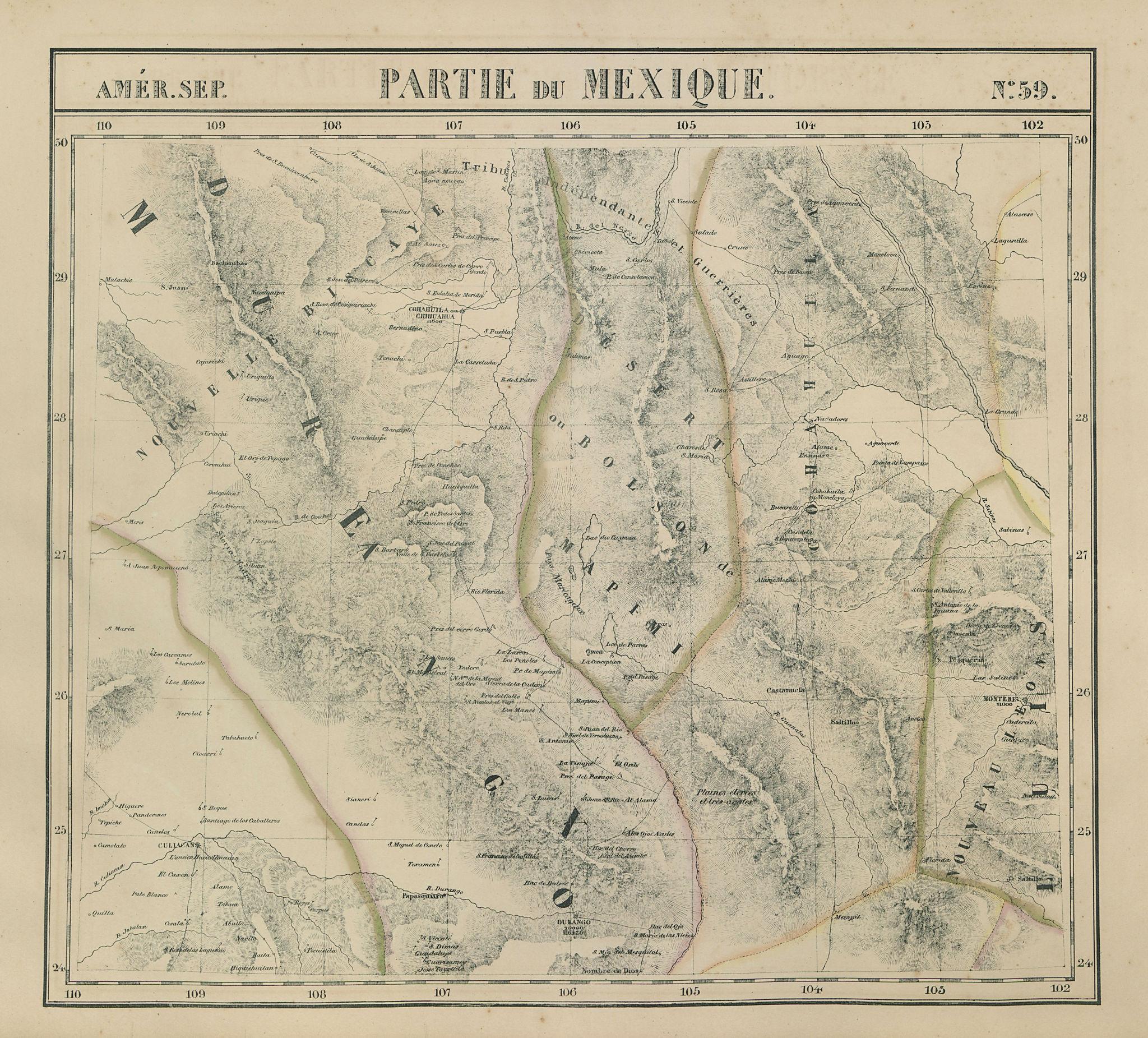 Amér. Sep. Partie du Mexique #59. Central Mexico. VANDERMAELEN 1827 old map