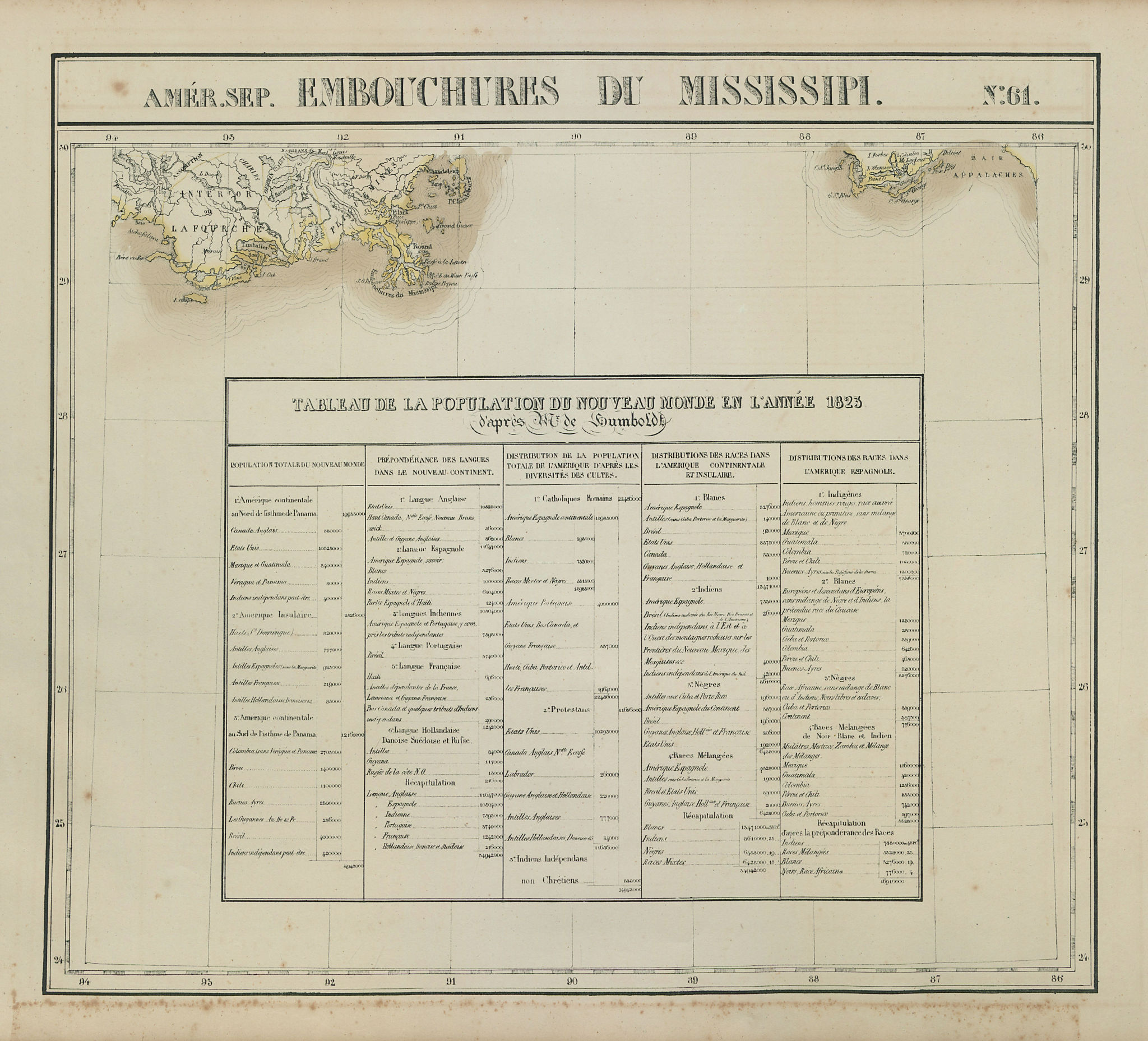 Amér. Sep. Embouchures du Mississipi #61. Louisiana. VANDERMAELEN 1827 old map