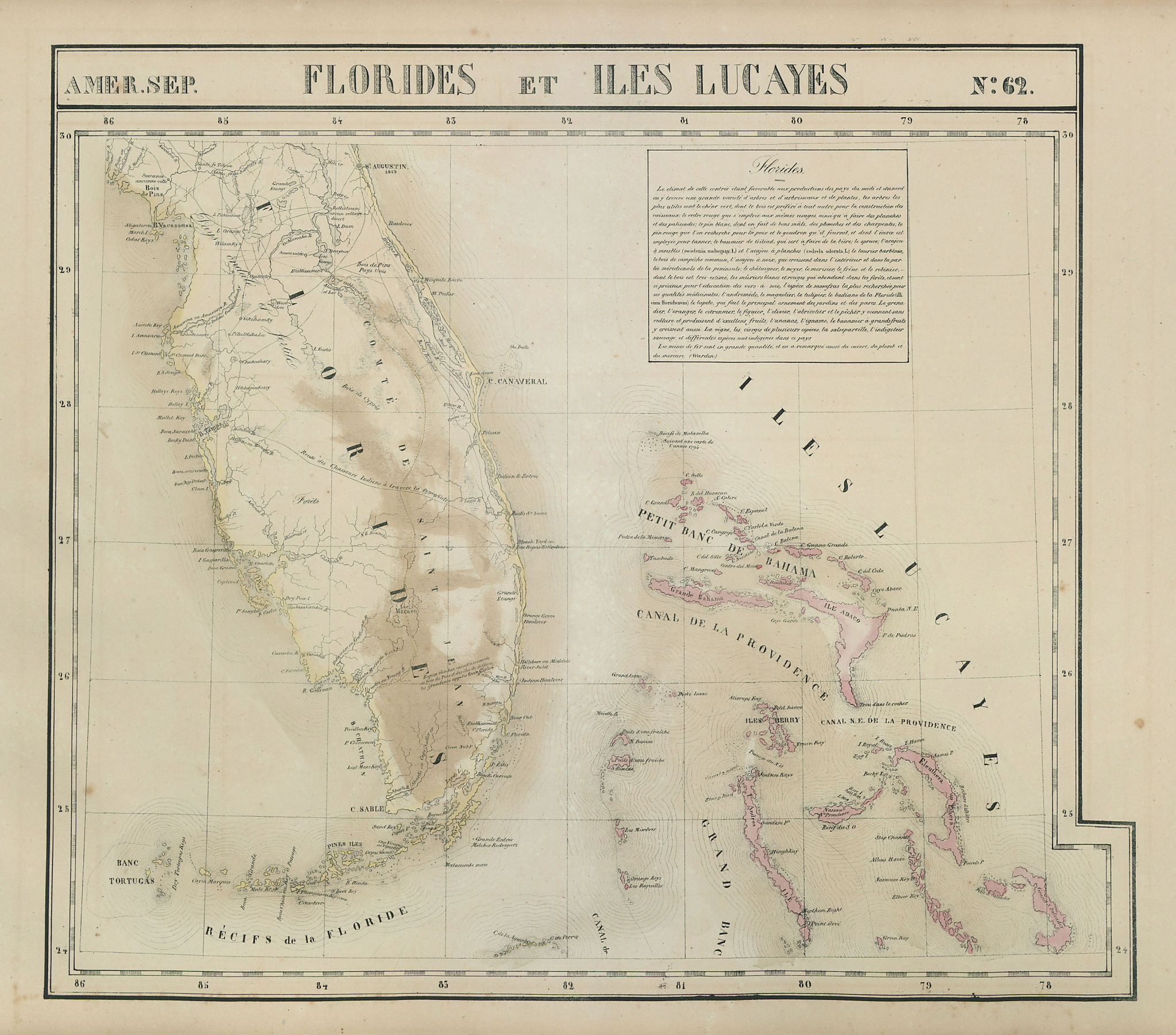 Amér. Sep. Florides et Iles Lucayes #62 Florida & Bahamas. VANDERMAELEN 1827 map
