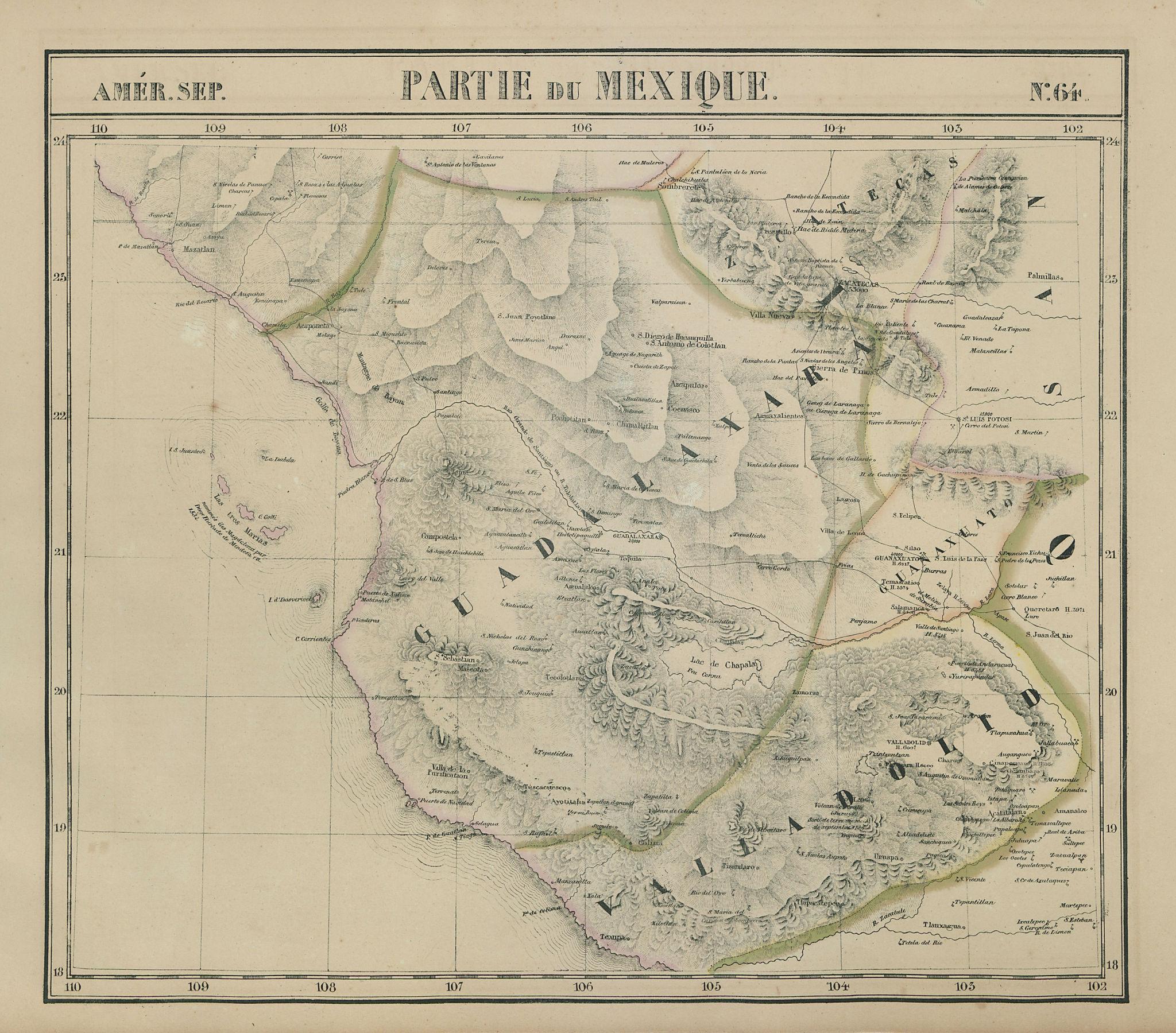 Amér. Sep. Partie du Mexique #64. Southwest Mexico. VANDERMAELEN 1827 old map