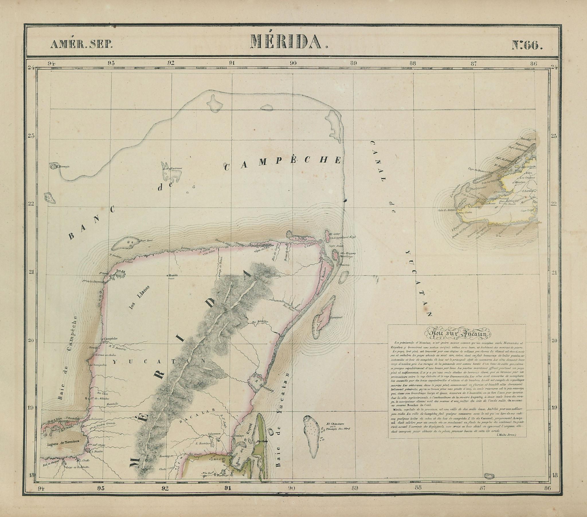 Amér. Sep. Mérida #66. Yucatan, Mexico & western Cuba. VANDERMAELEN 1827 map