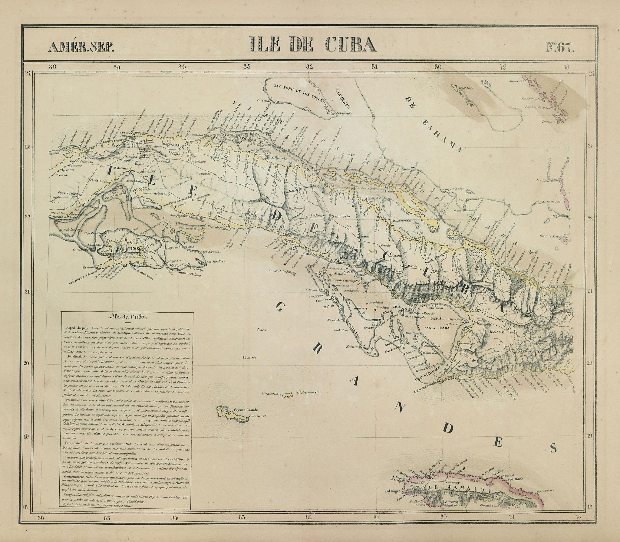 Amér. Sep. Ile de Cuba #67. Cuba & Jamaica Cayman Islands. VANDERMAELEN 1827 map