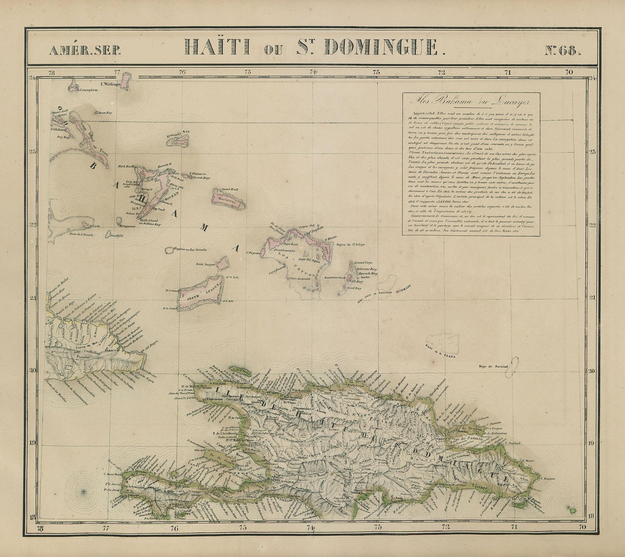 Amér Sep Haiti Domingue 68 Hispaniola Turks Caicos Bahamas VANDERMAELEN 1827 map