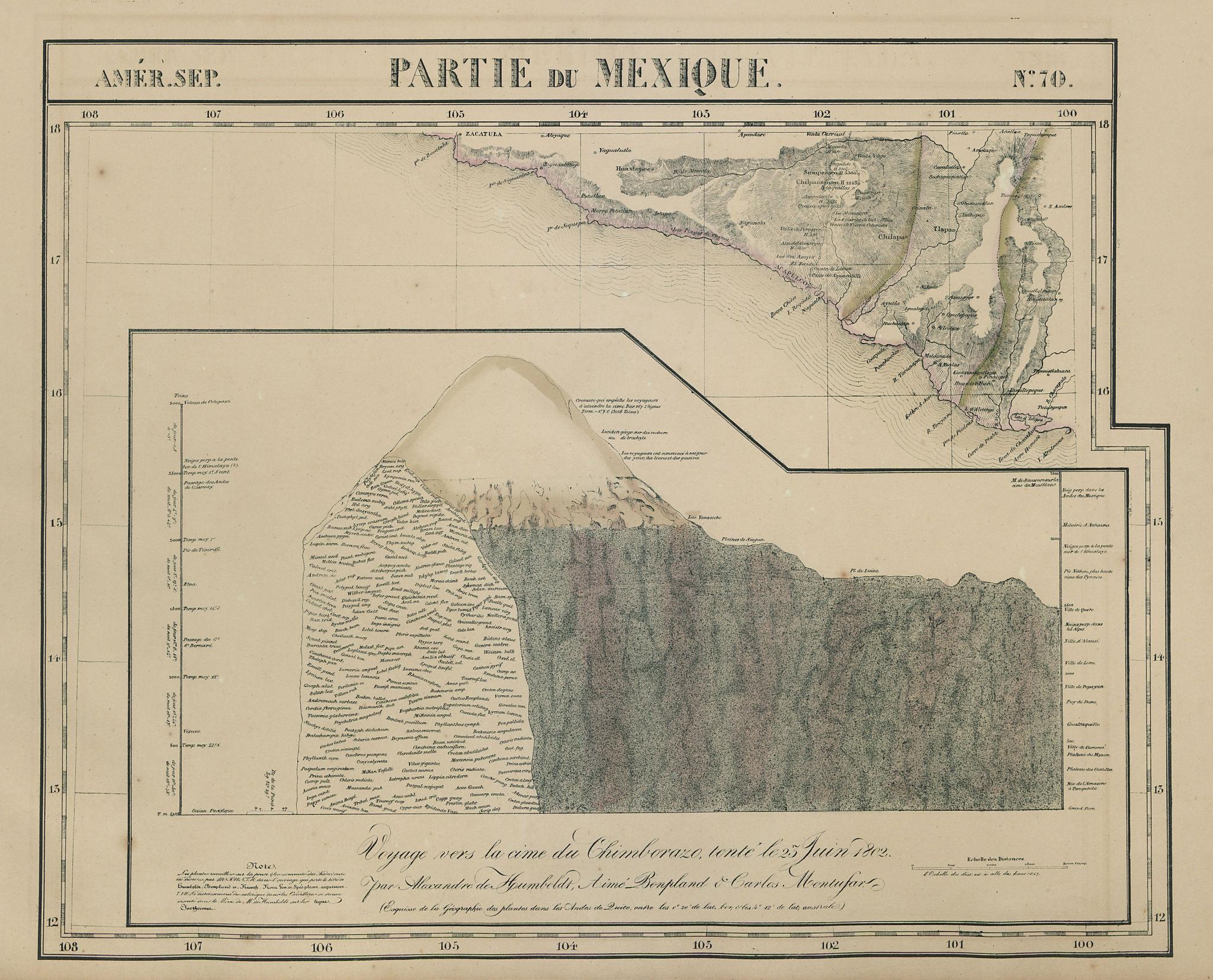 Amér Sep. Partie du Mexique #70 Acapulco Mexico Chimborazo VANDERMAELEN 1827 map